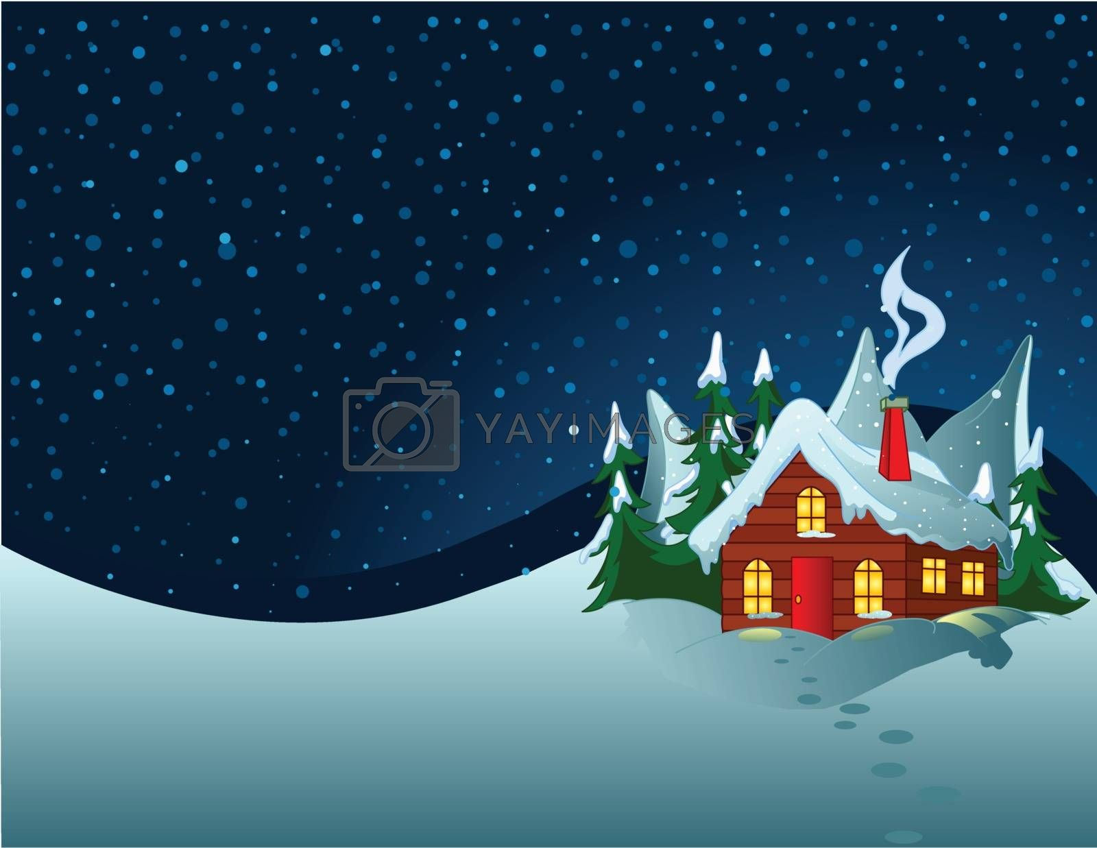 Little house stands on snowy hills. Pastoral winter scene