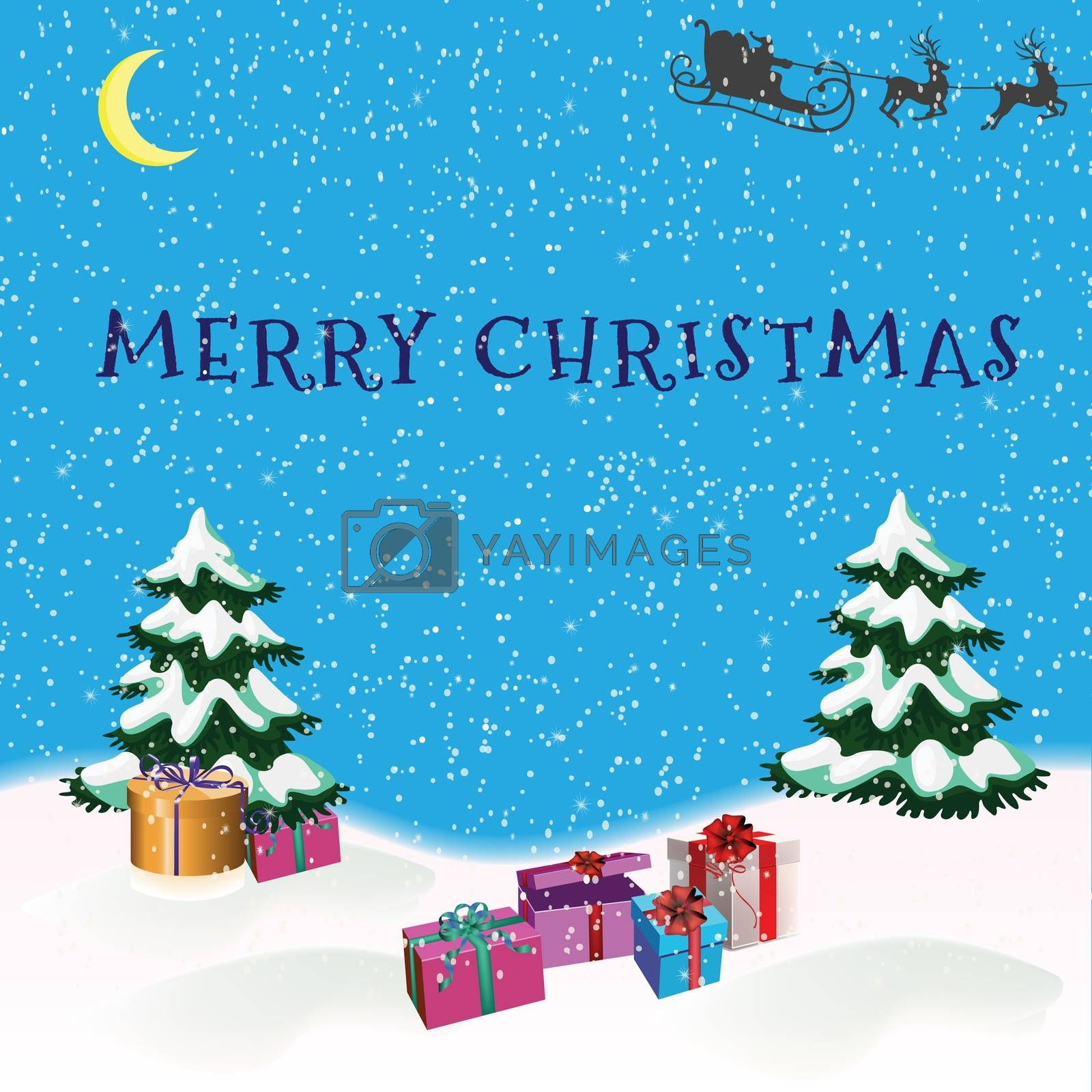 Christmas picture with Christmas trees, Santa Claus and gifts under Christmas trees