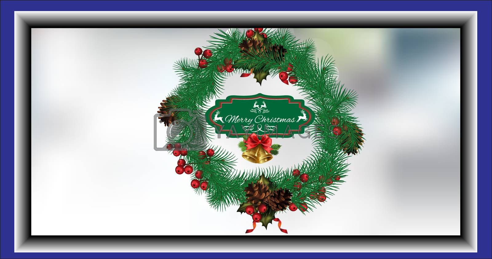 Christmas wreath card with fir cones, with the words Merry Christmas in the center