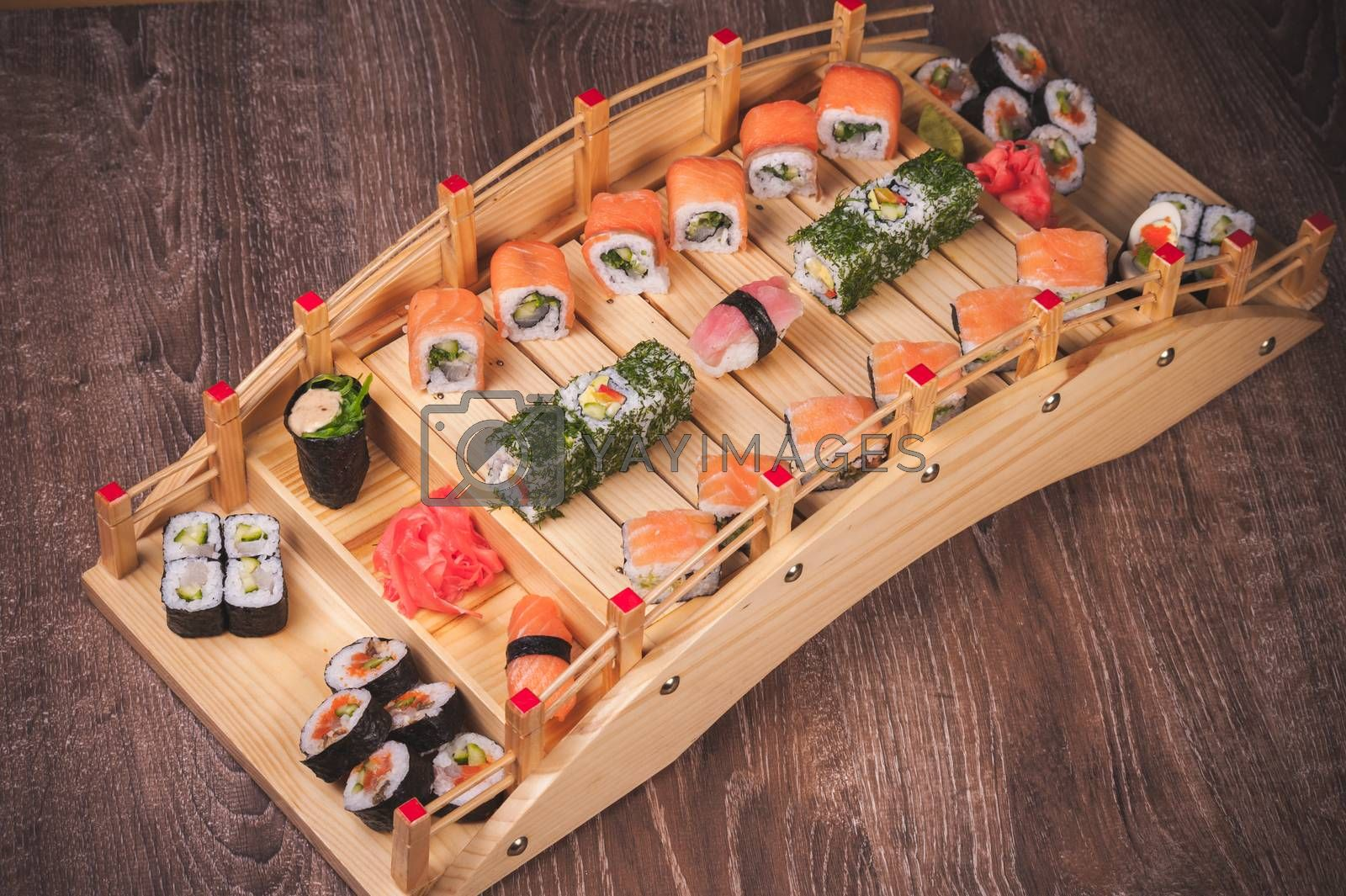 fresh sushi roll, sashini and nigiri set