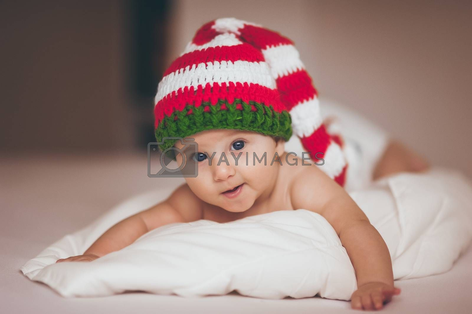 christmas baby girl newborn in new year hat