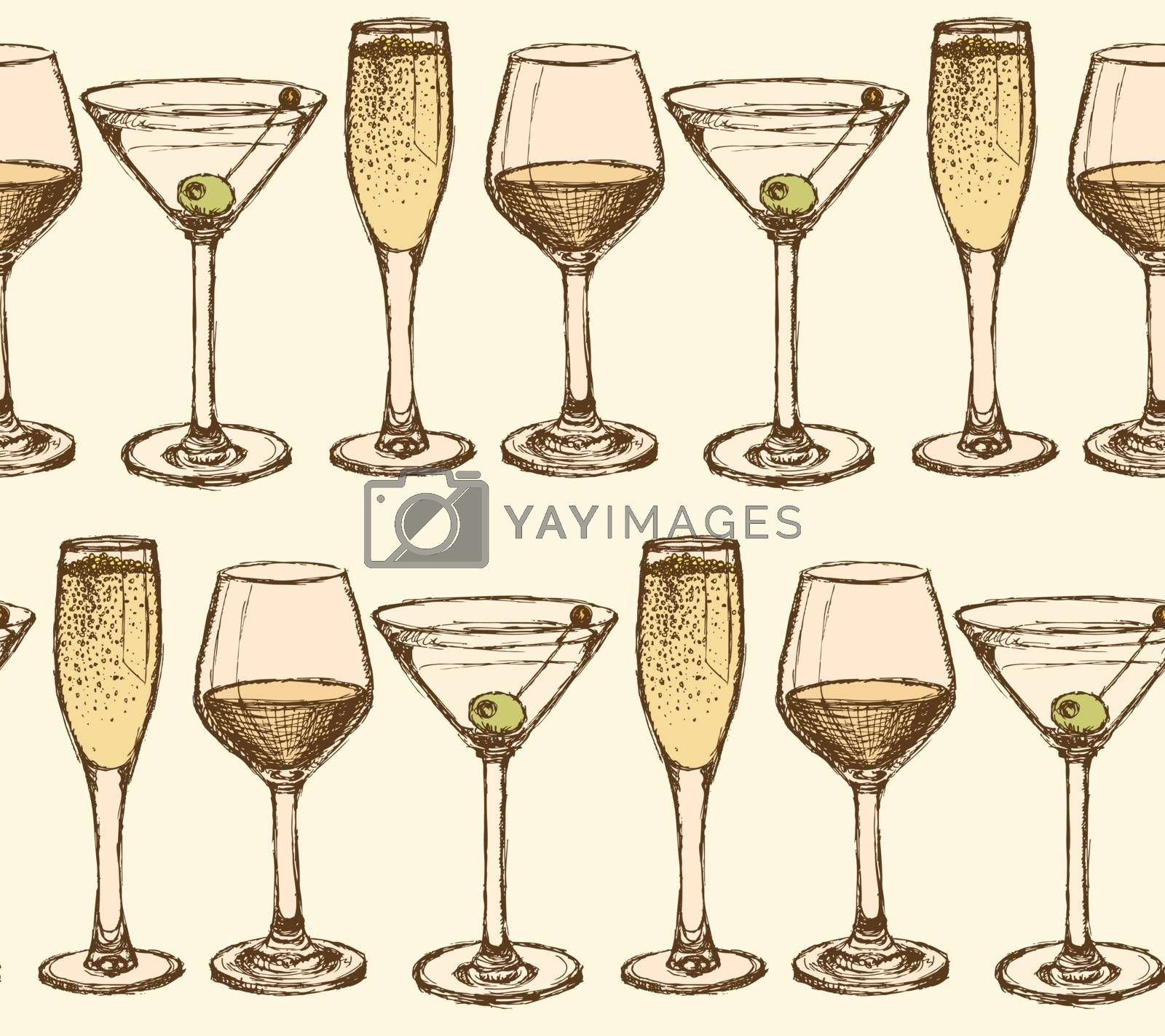 Sketch martini, champagne and wine glass in vintage style, vector seamless pattern