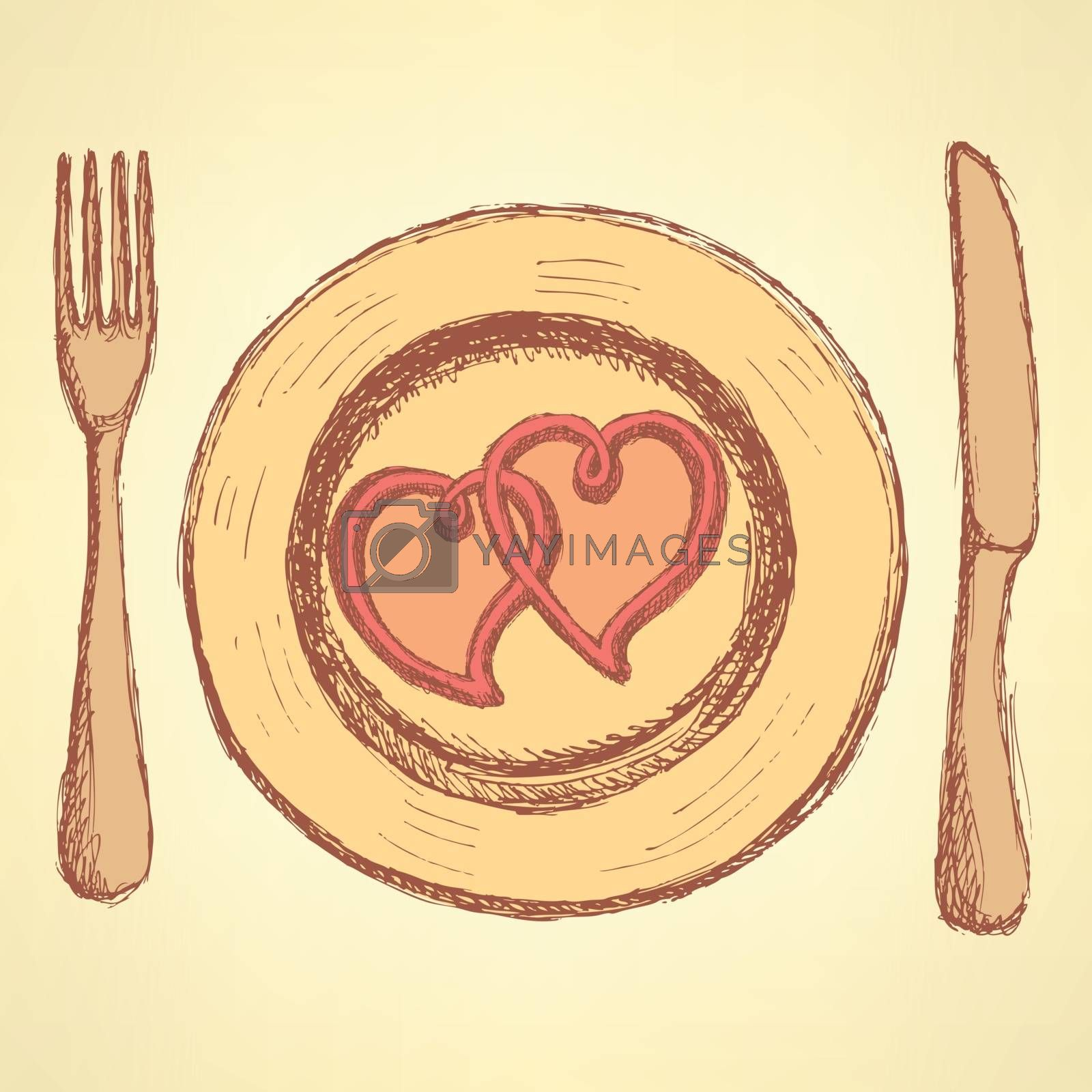 Sketch  hearts on the plate in vintage style,  vector
