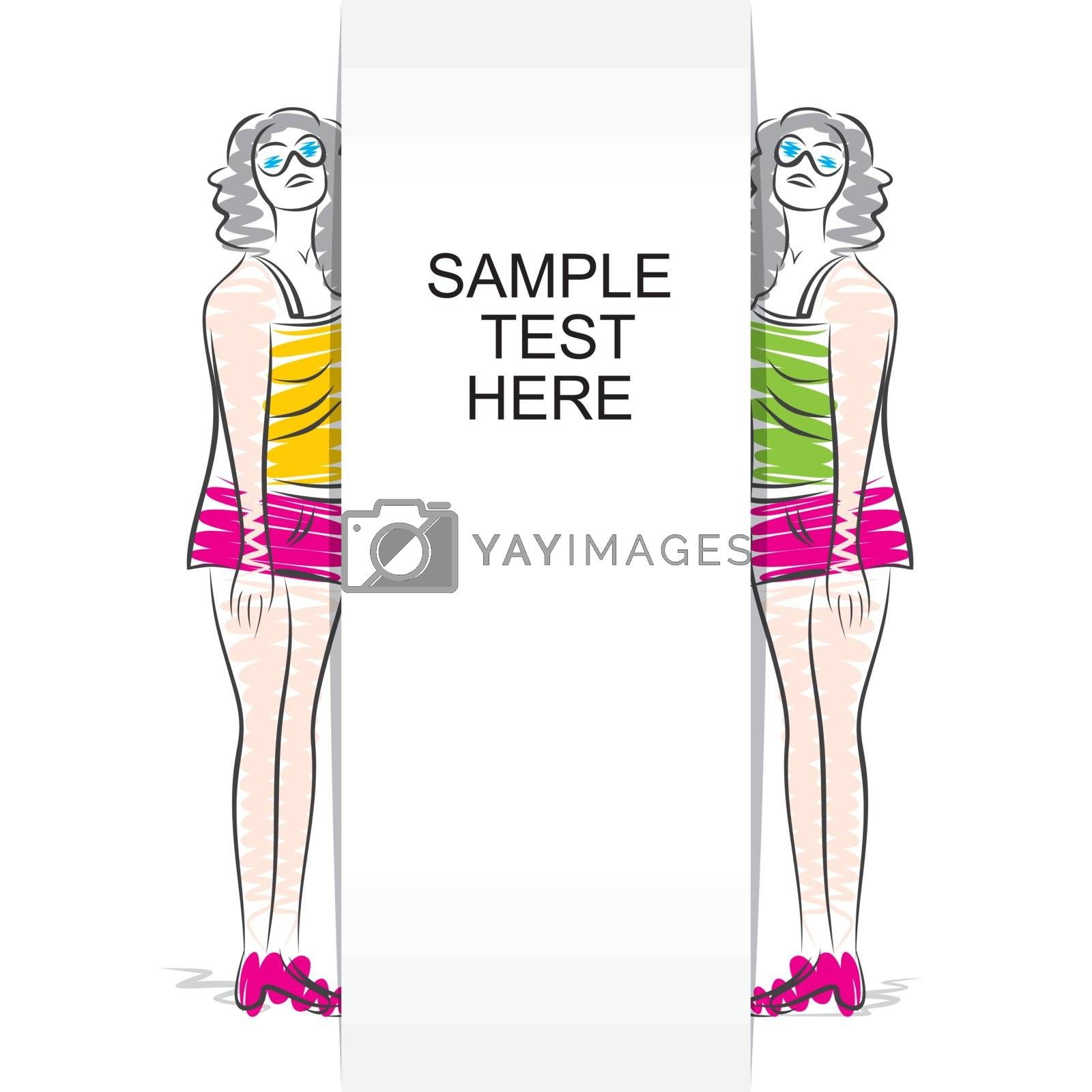 fashion lady with blank banner design concept