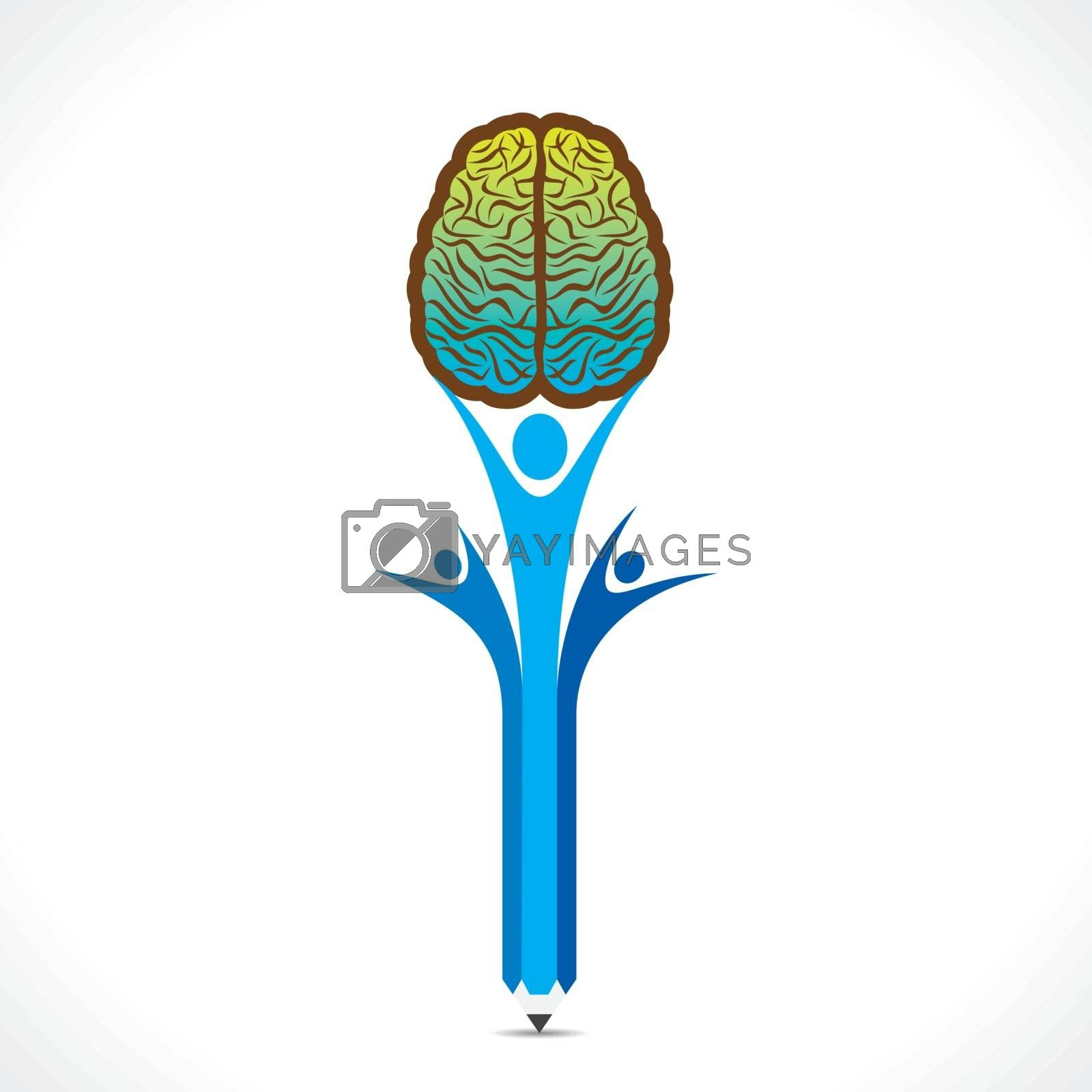 creative people hold the brain concept vector