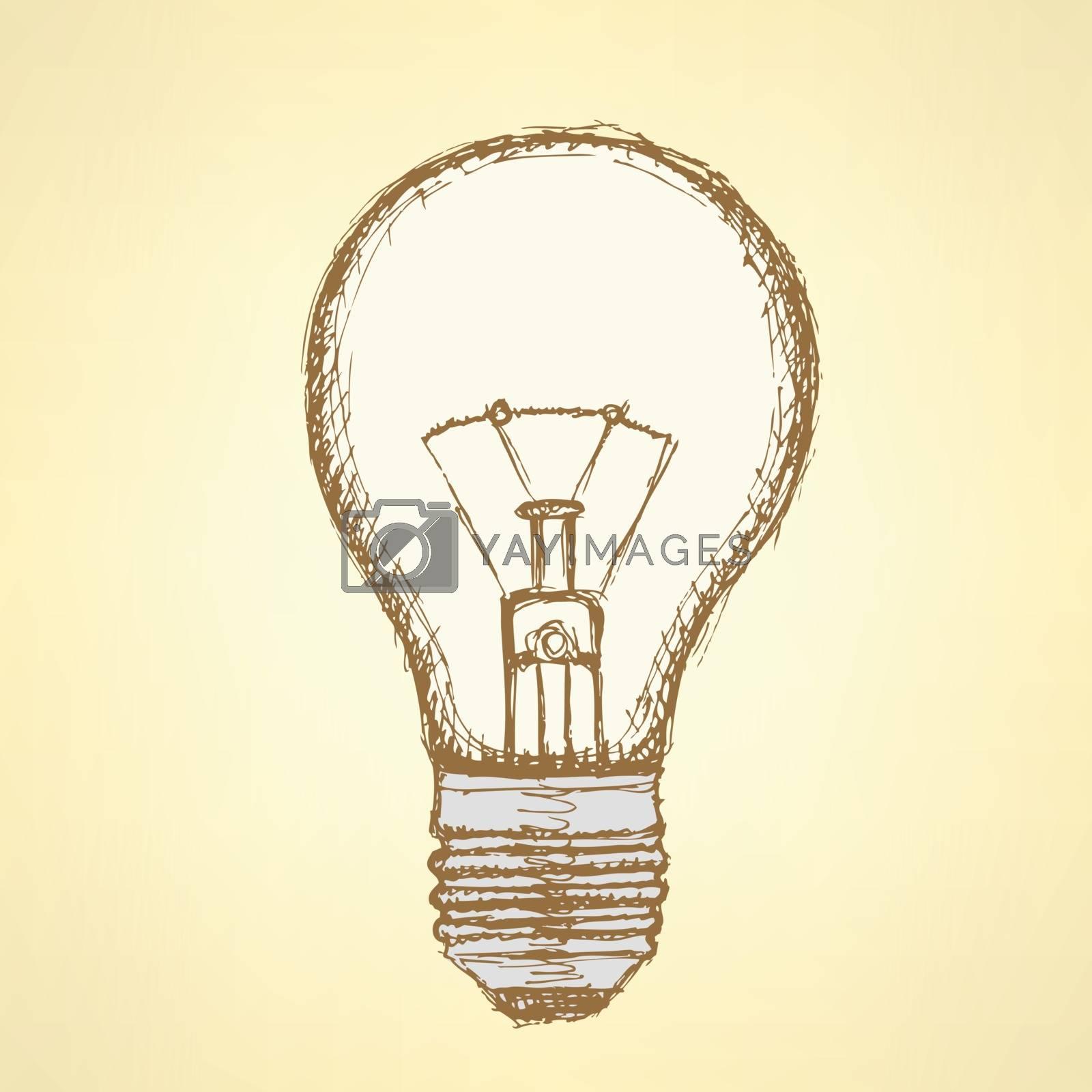 Sketch light bulb in vintage style, vector