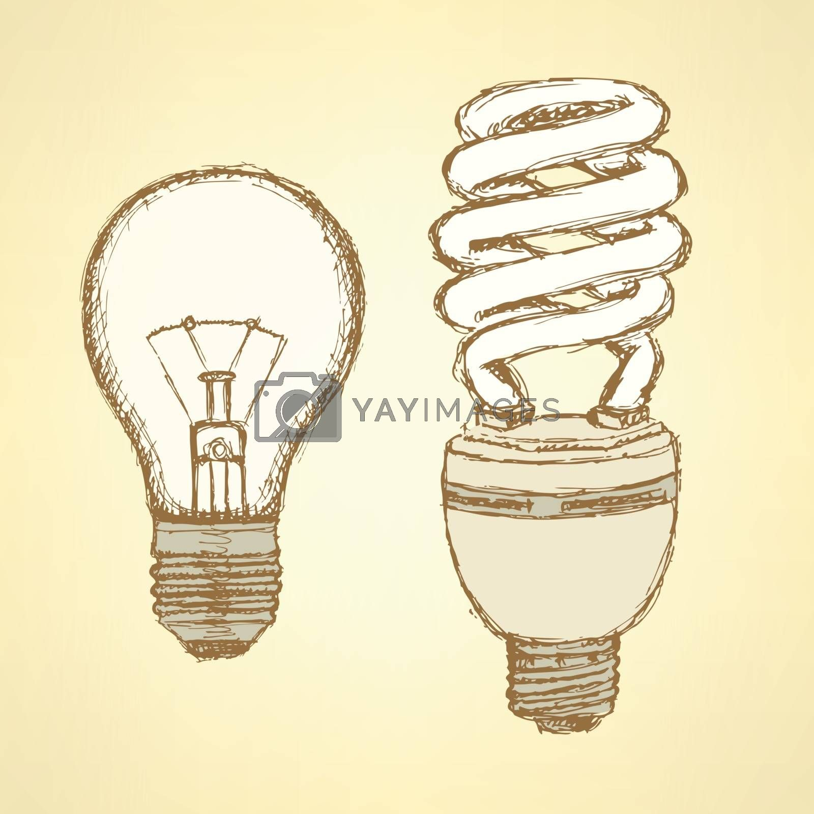Sketch light bulbs in vintage style, vector