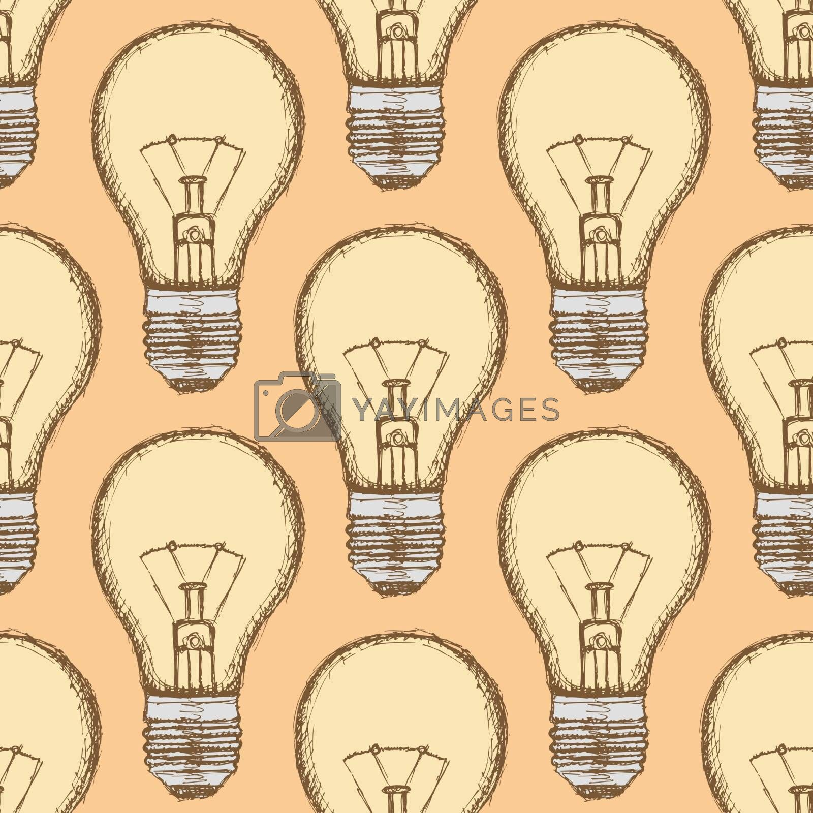Sketch light bulb in vintage style, vector seamless pattern