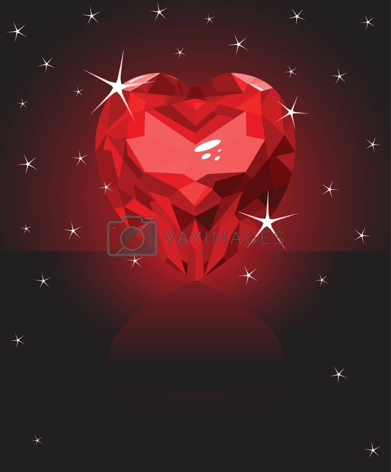 Shiny ruby love heart on black background