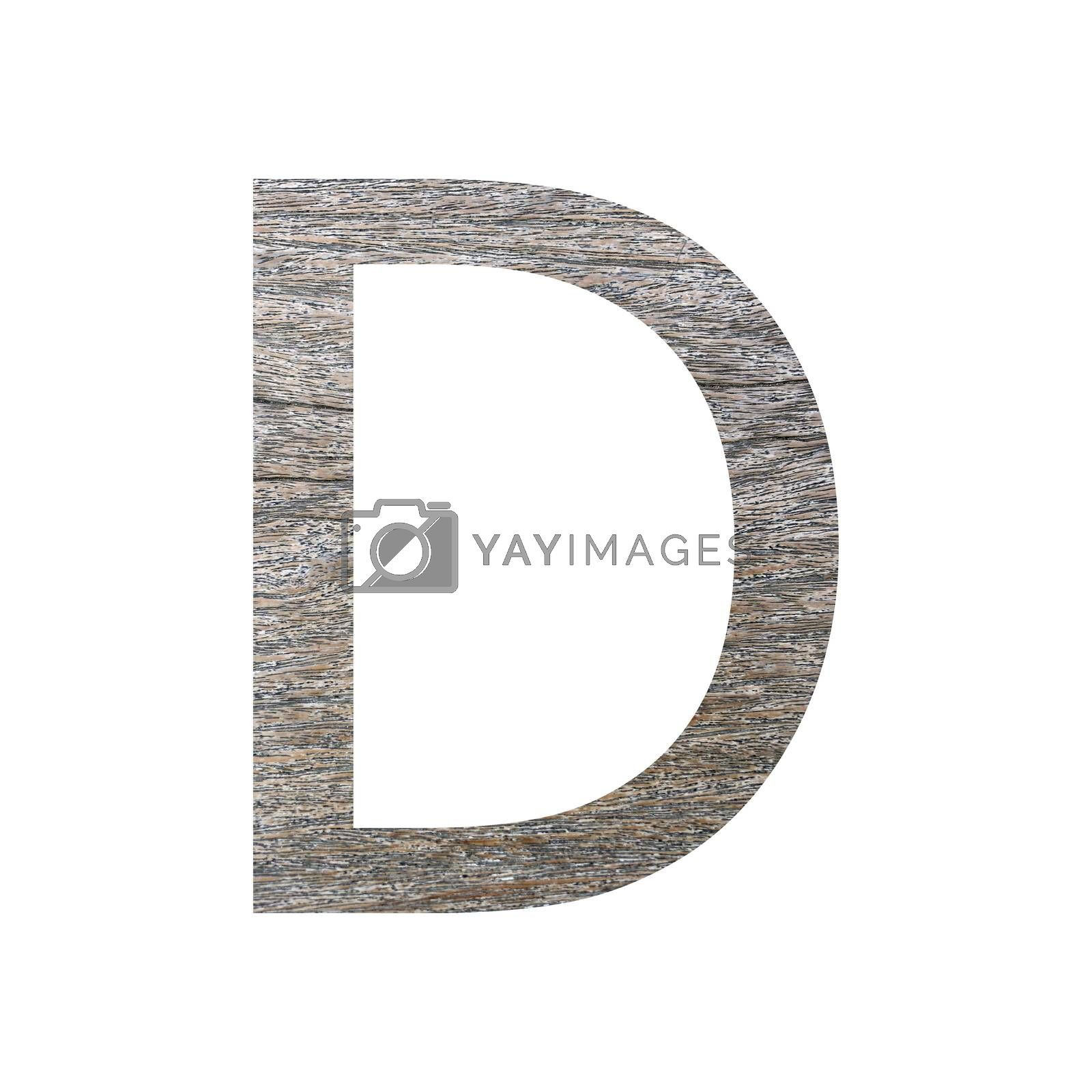 wooden font isolated on white background.