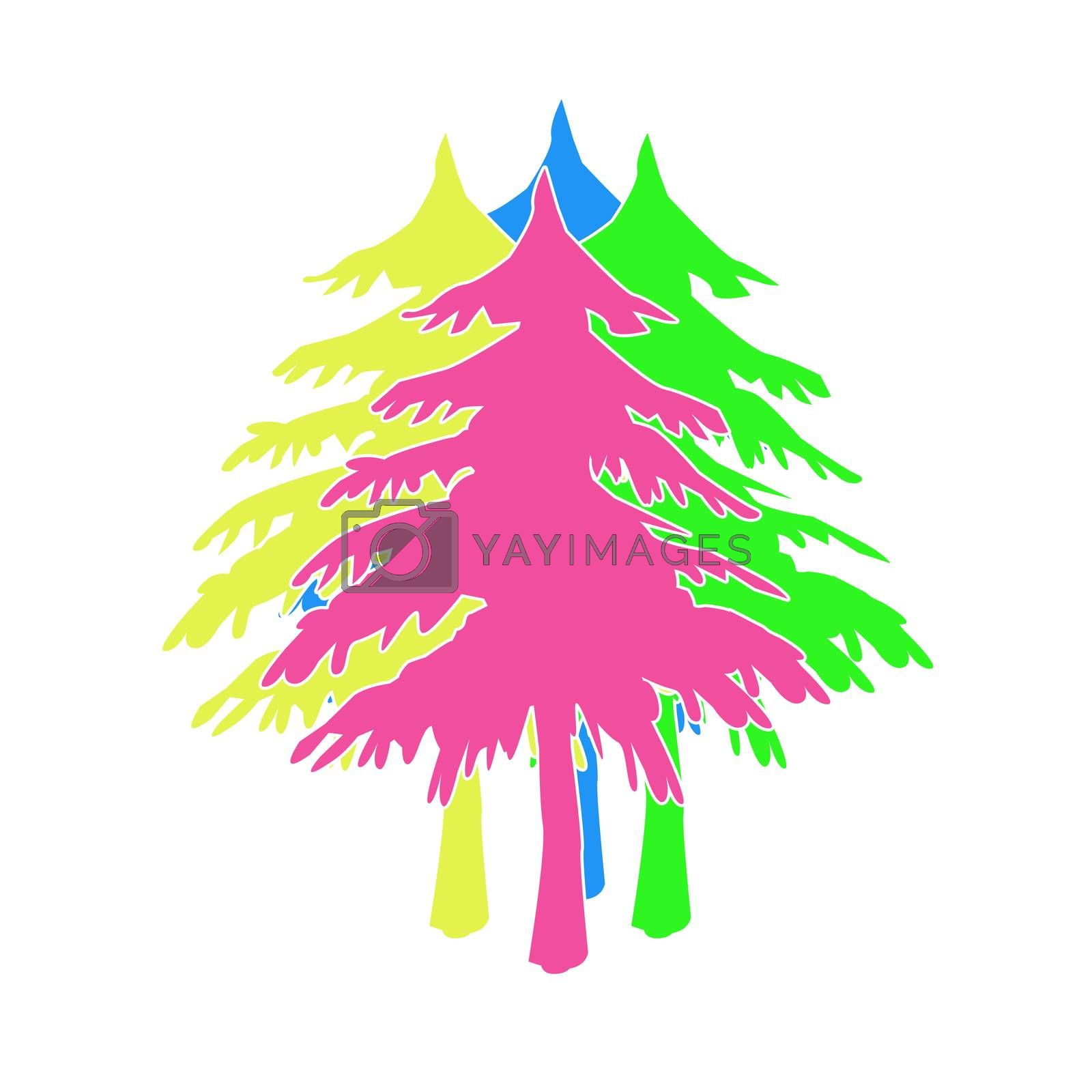 Christmas tree from colorful painted with photoshop.