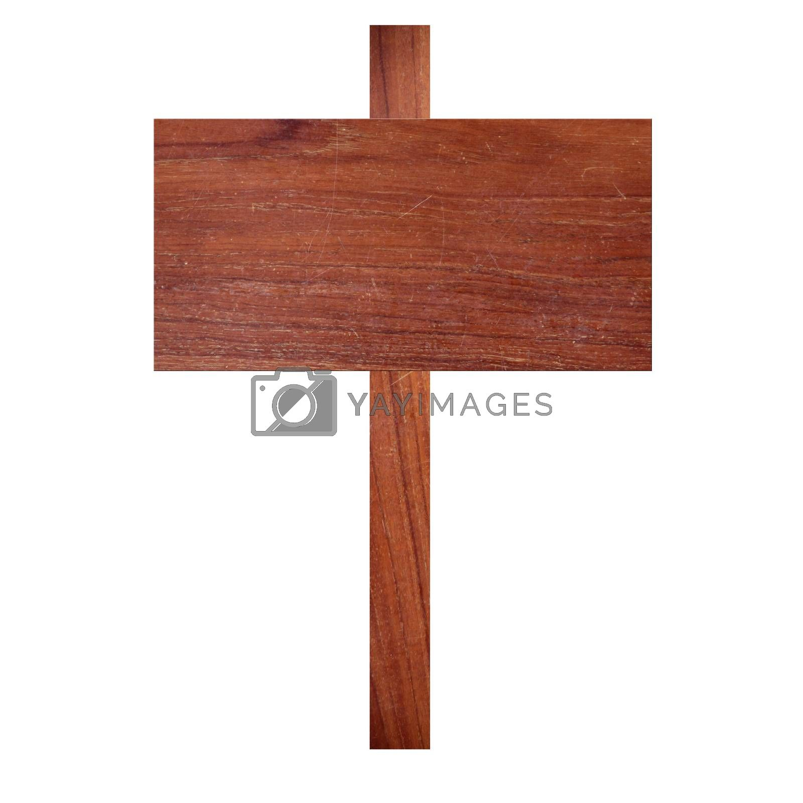 old wooden signboard isolated on white background.