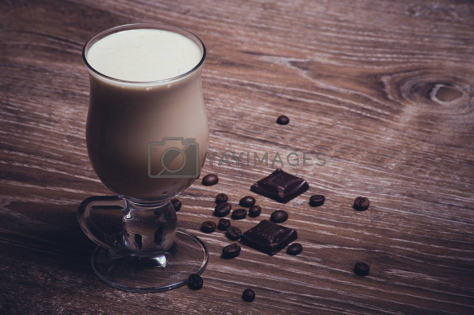 coffee latte with chocolate and coffee beans