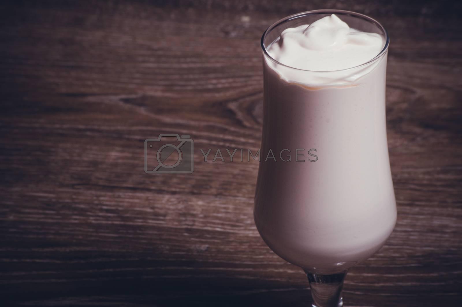 vanilla cacao chocolate milkshake in high glass
