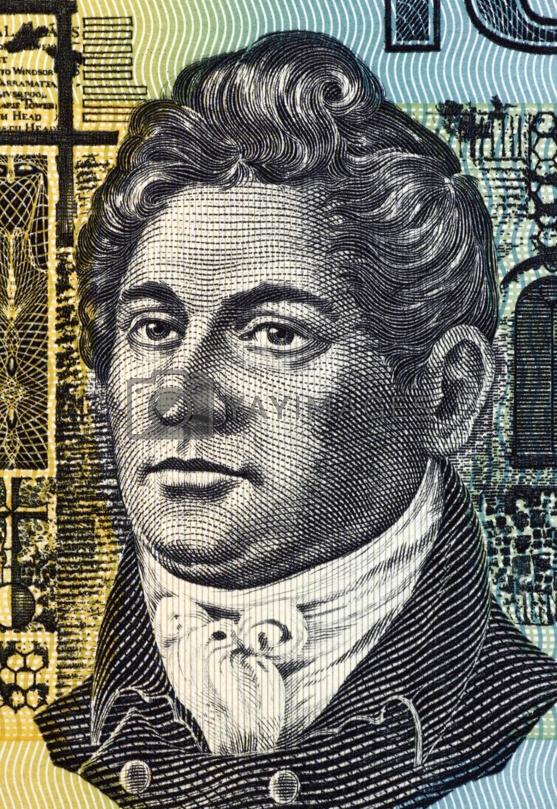 Francis Greenway (1777-1837) on 10 Dollars 1966 banknote from Australia. English-born architect who was transported to Australia for the crime of forgery.