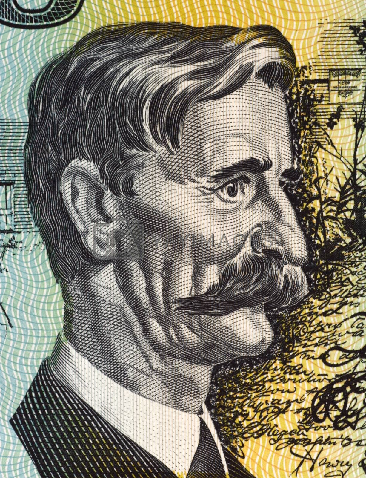 Henry Lawson (1867-1922) on 10 Dollars 1966 banknote from Australia. Australian writer and poet.
