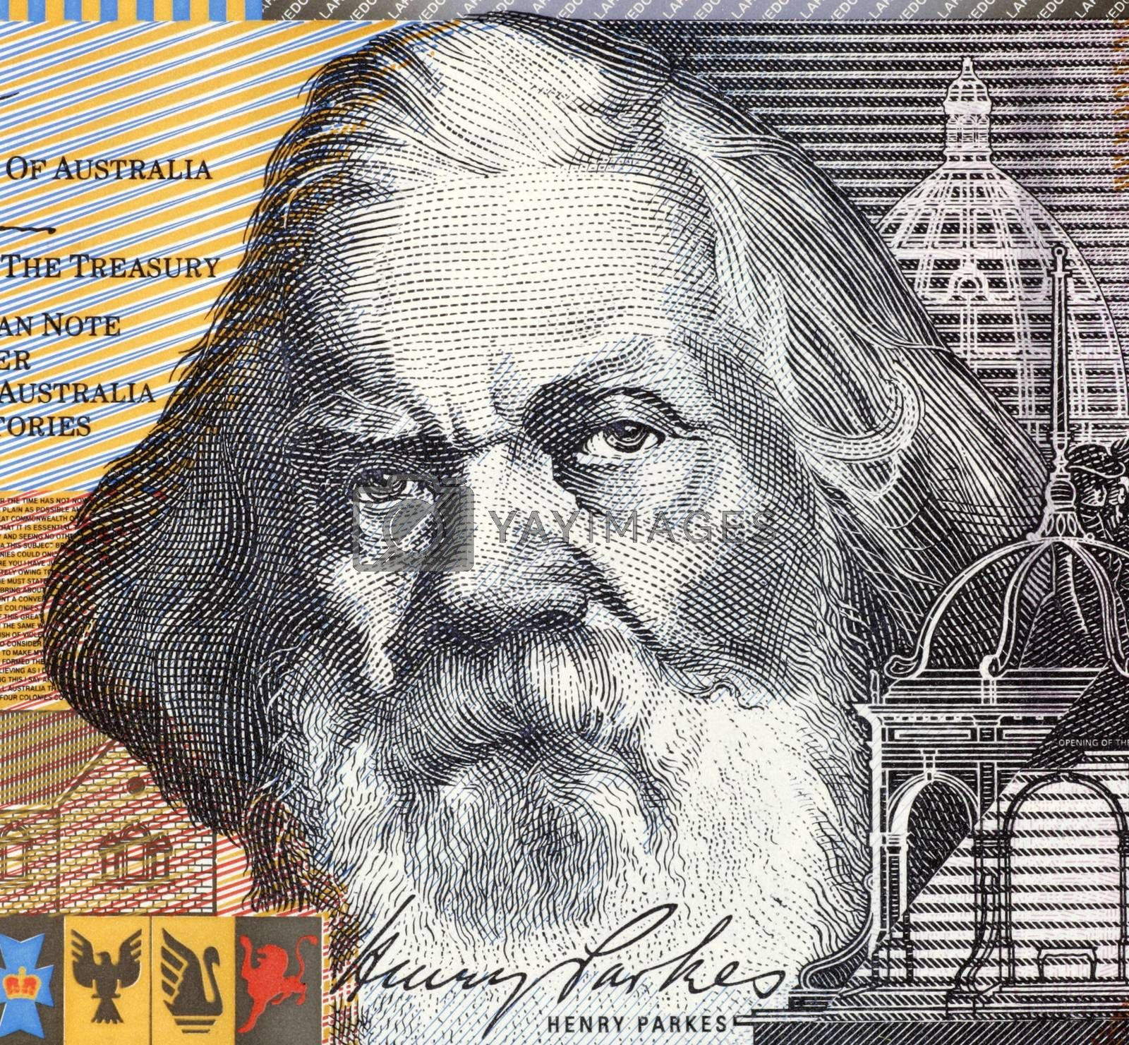 Henry Parkes (1815-1896) on 5 Dollars 2001 banknote from Australia. The Father of the Australian Federation.