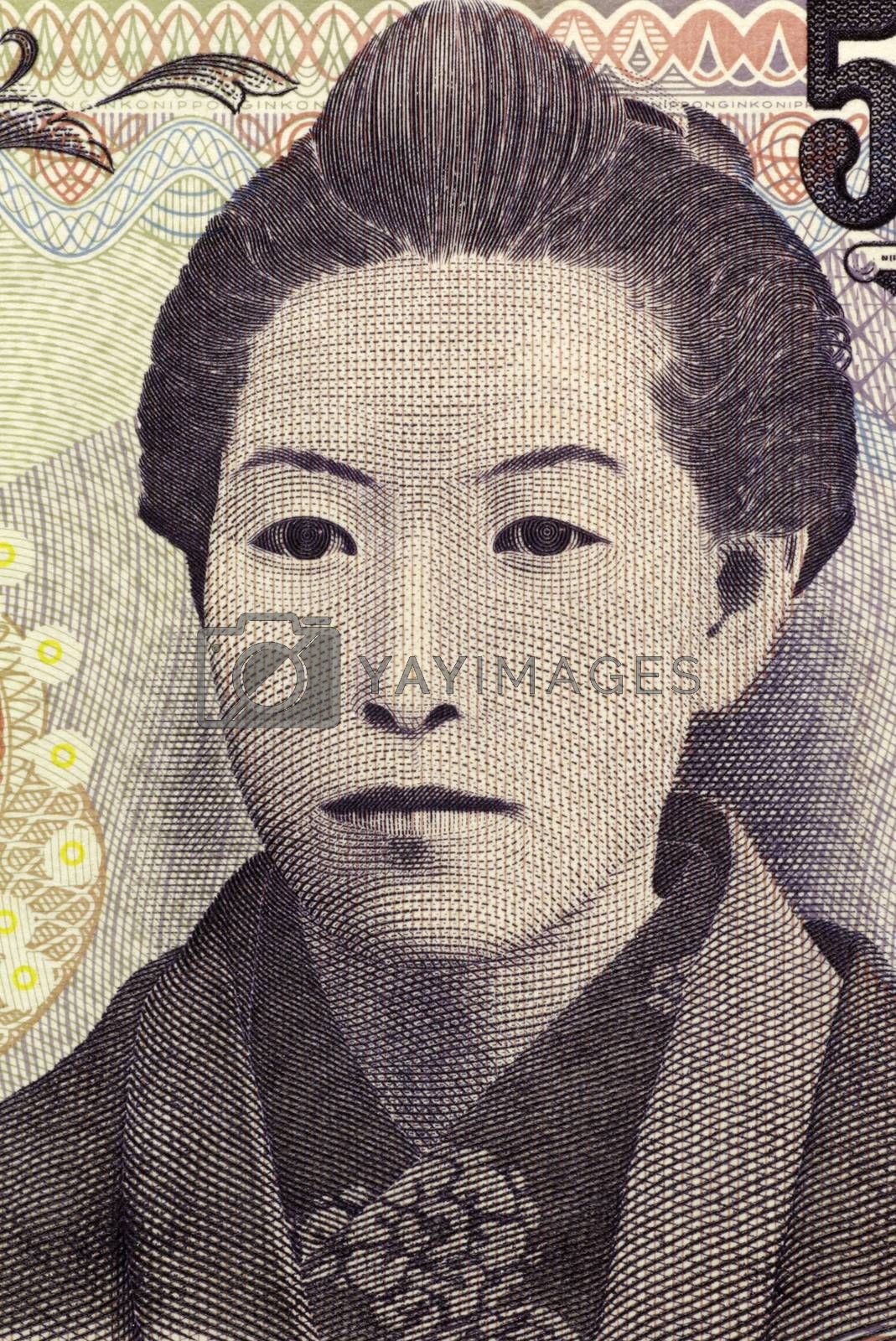 Ichiyo Higuchi (1872-1896) on 5000 Yen 2004 banknote from Japan. Japan's first prominent woman writer of modern times.