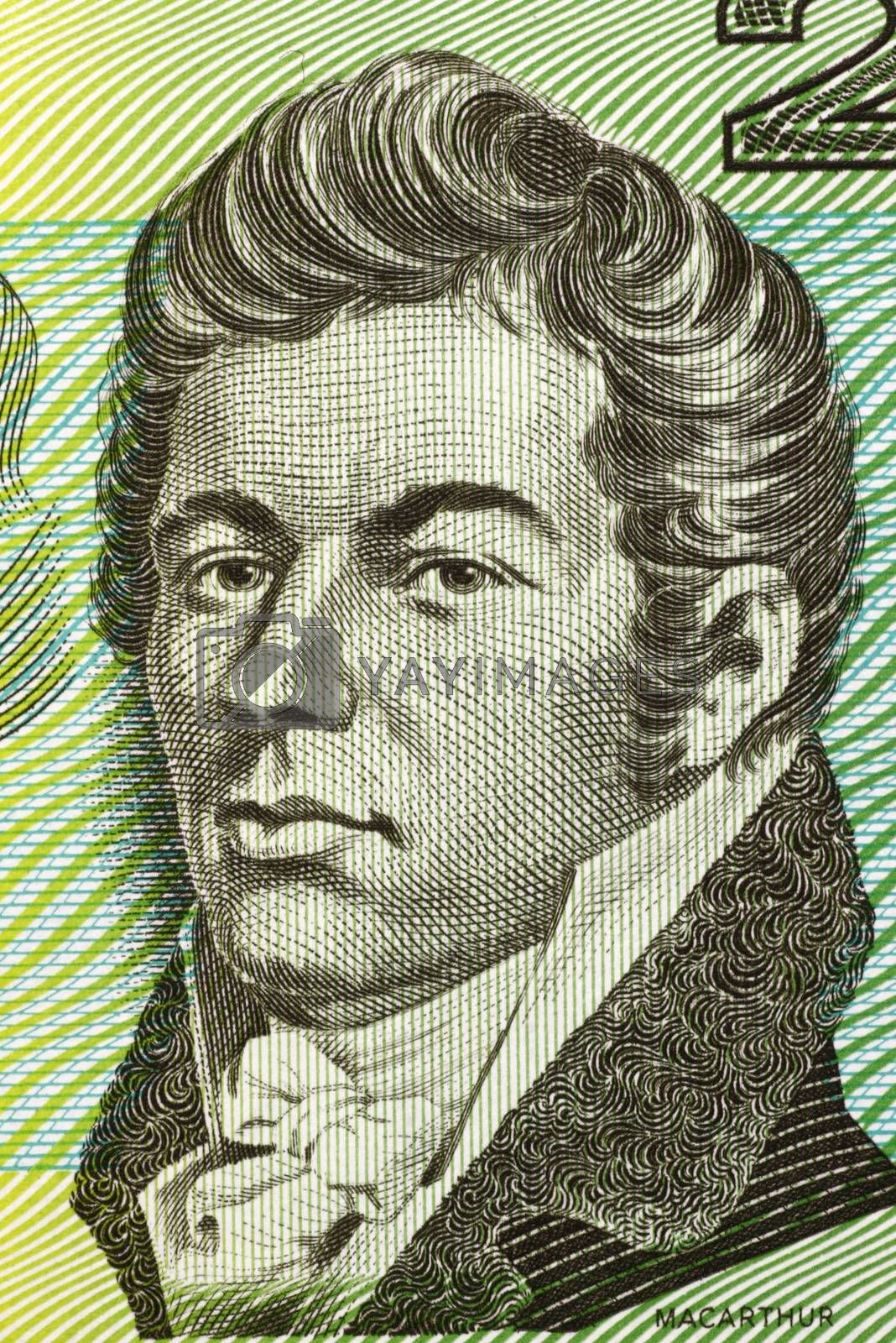 John Macarthur (1767-1834) on 2 Dollars 1966 banknote from Australia. British army officer, entrepreneur, politician, architect and wool industry pioneer of settlement in Australia.