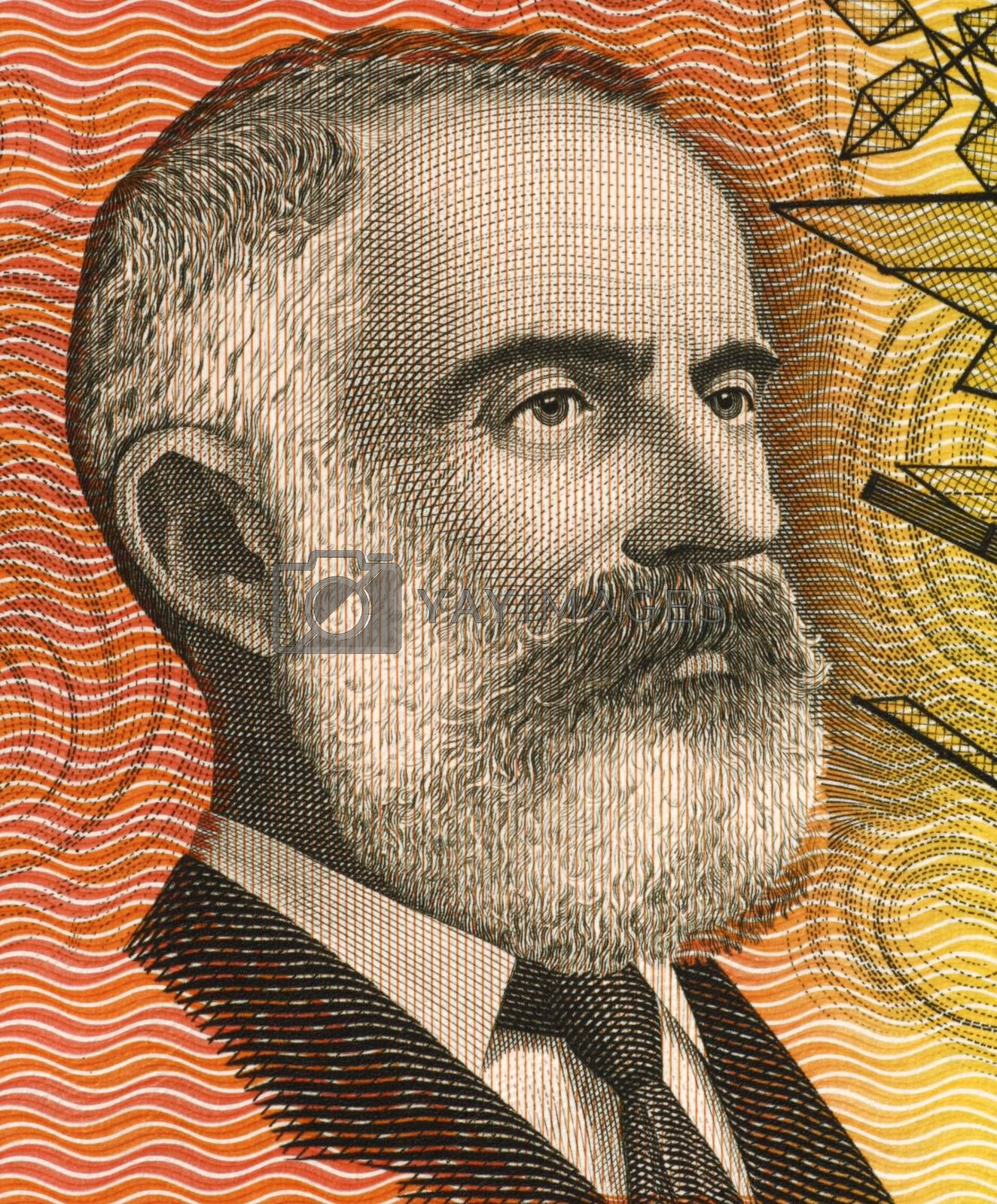 Lawrence Hargrave (1850-1915) on 20 Dollars 1974 banknote from Australia. Engineer, explorer, astronomer, inventor and aeronautical pioneer.