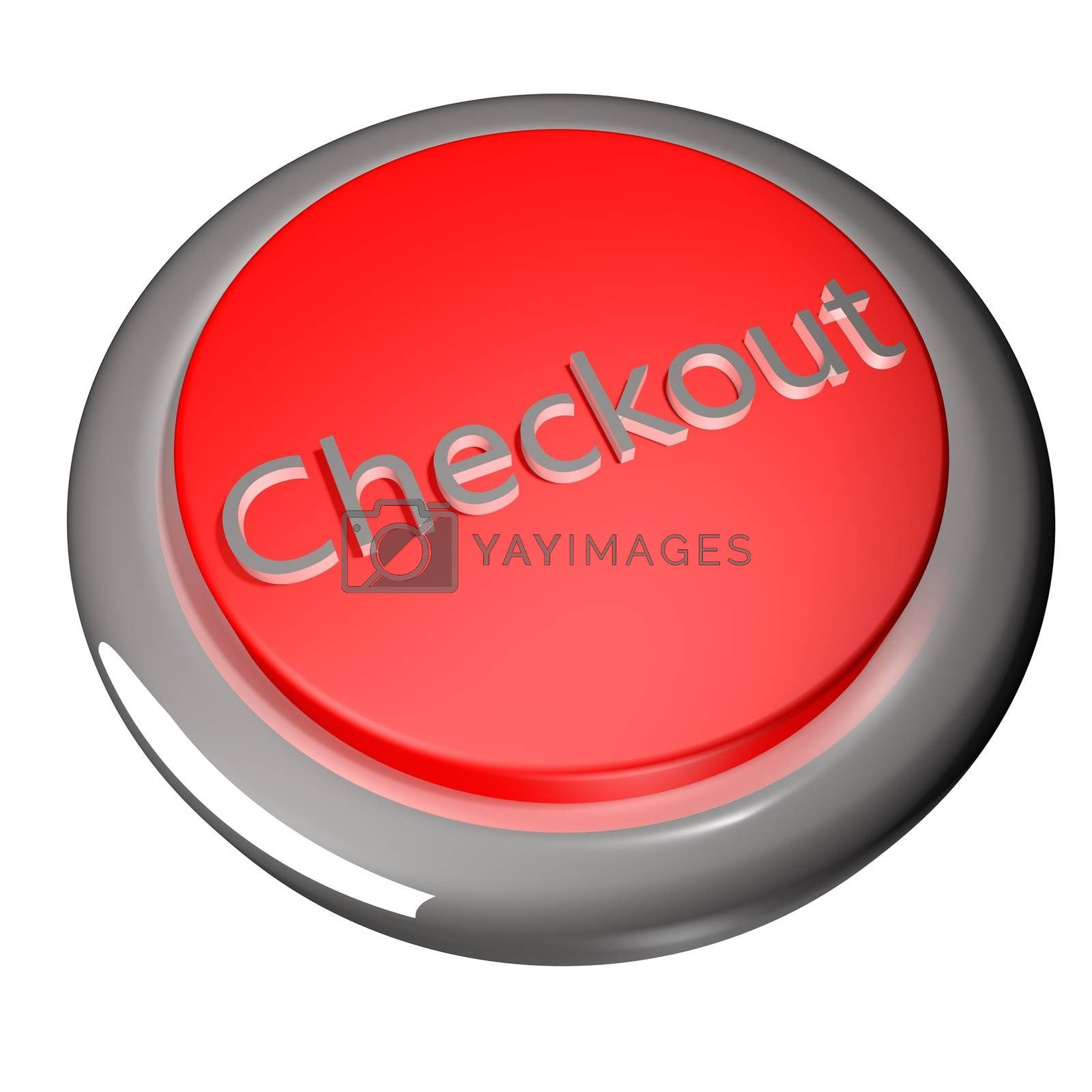Checkout button isolated over white, 3d render