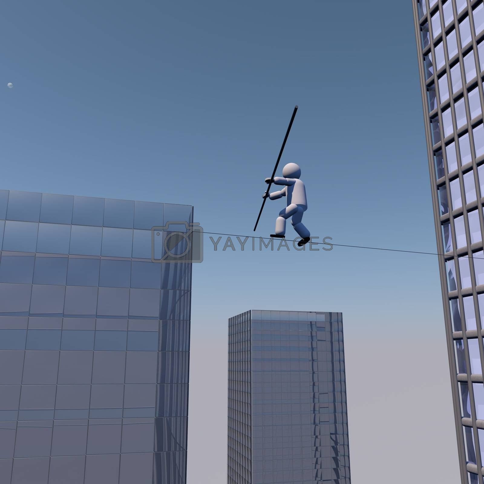 Acrobat walking on the rope over buildings, 3d render
