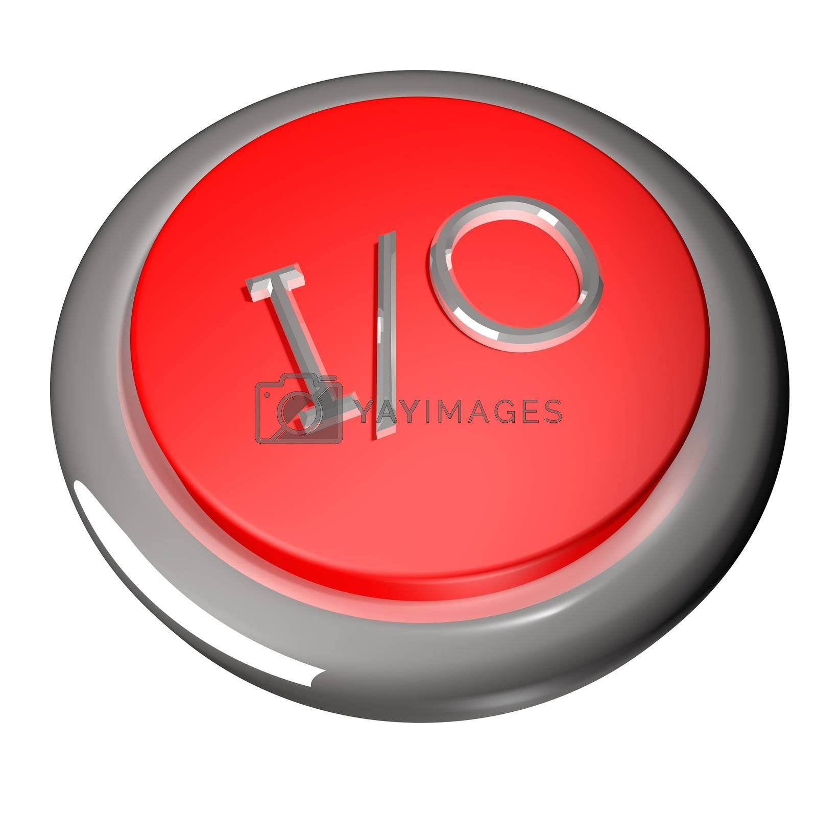 I/O symbol over button, 3d render