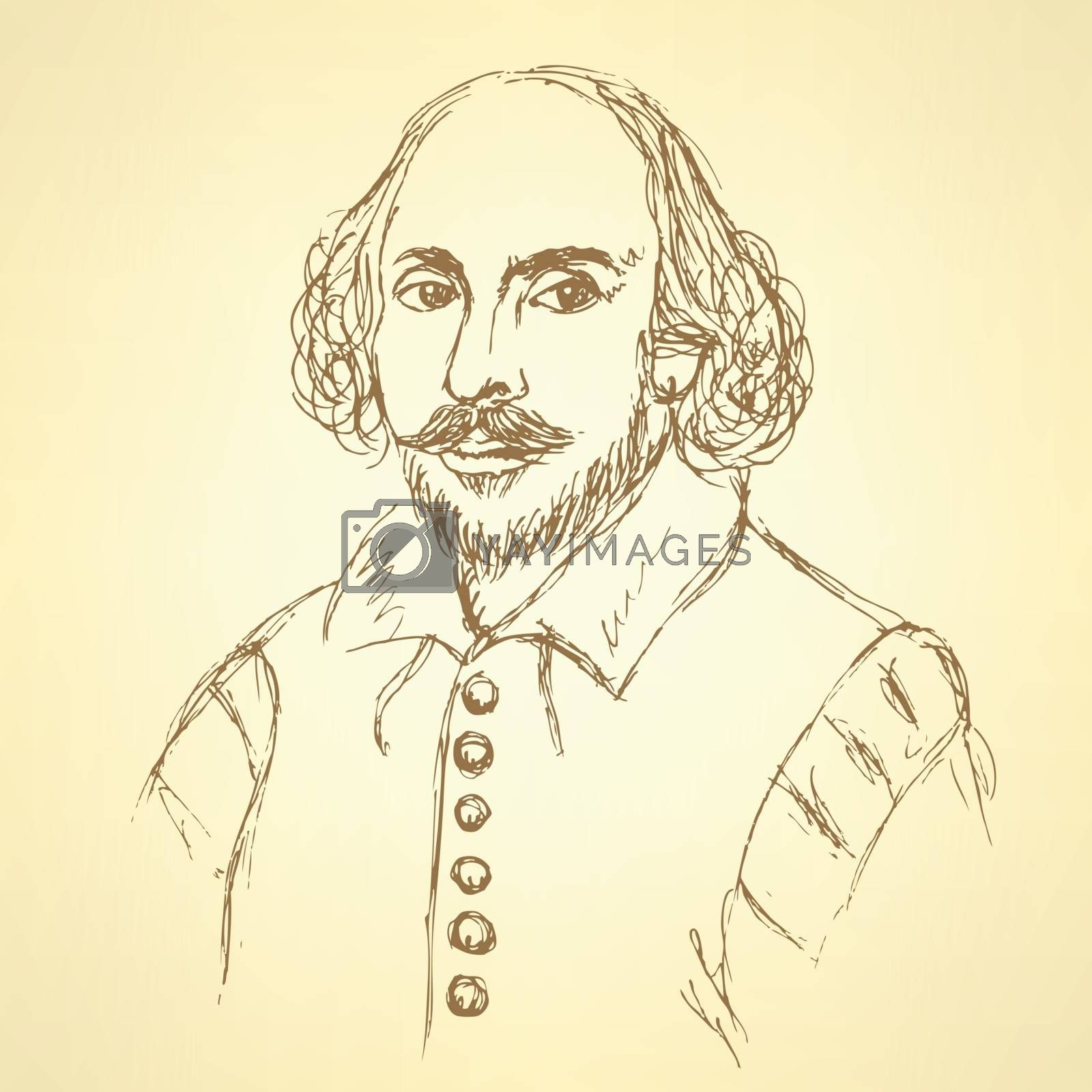 Sketch William Shakespeare portrait in vintage style, vector