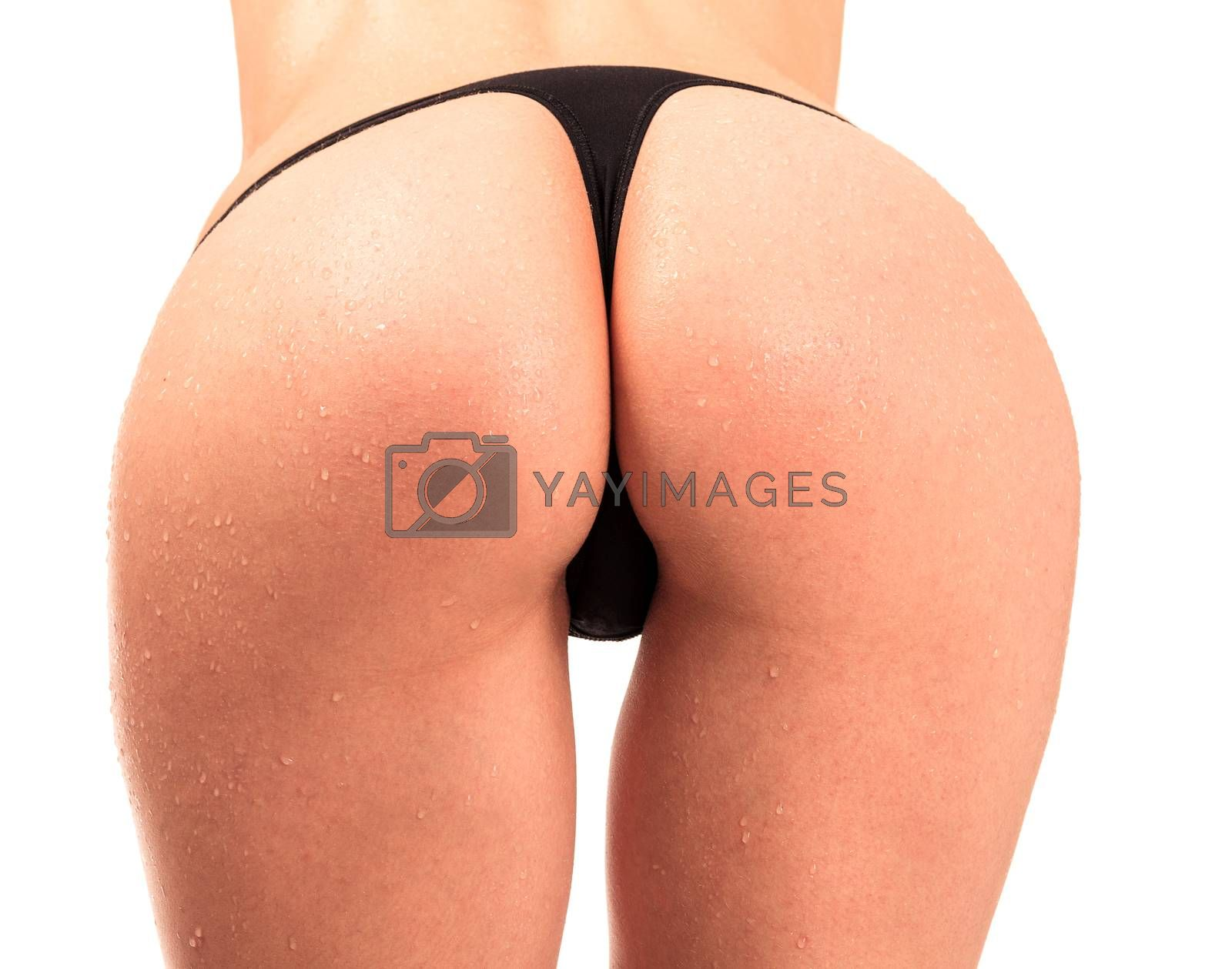 Nice female ass, white background, isolated