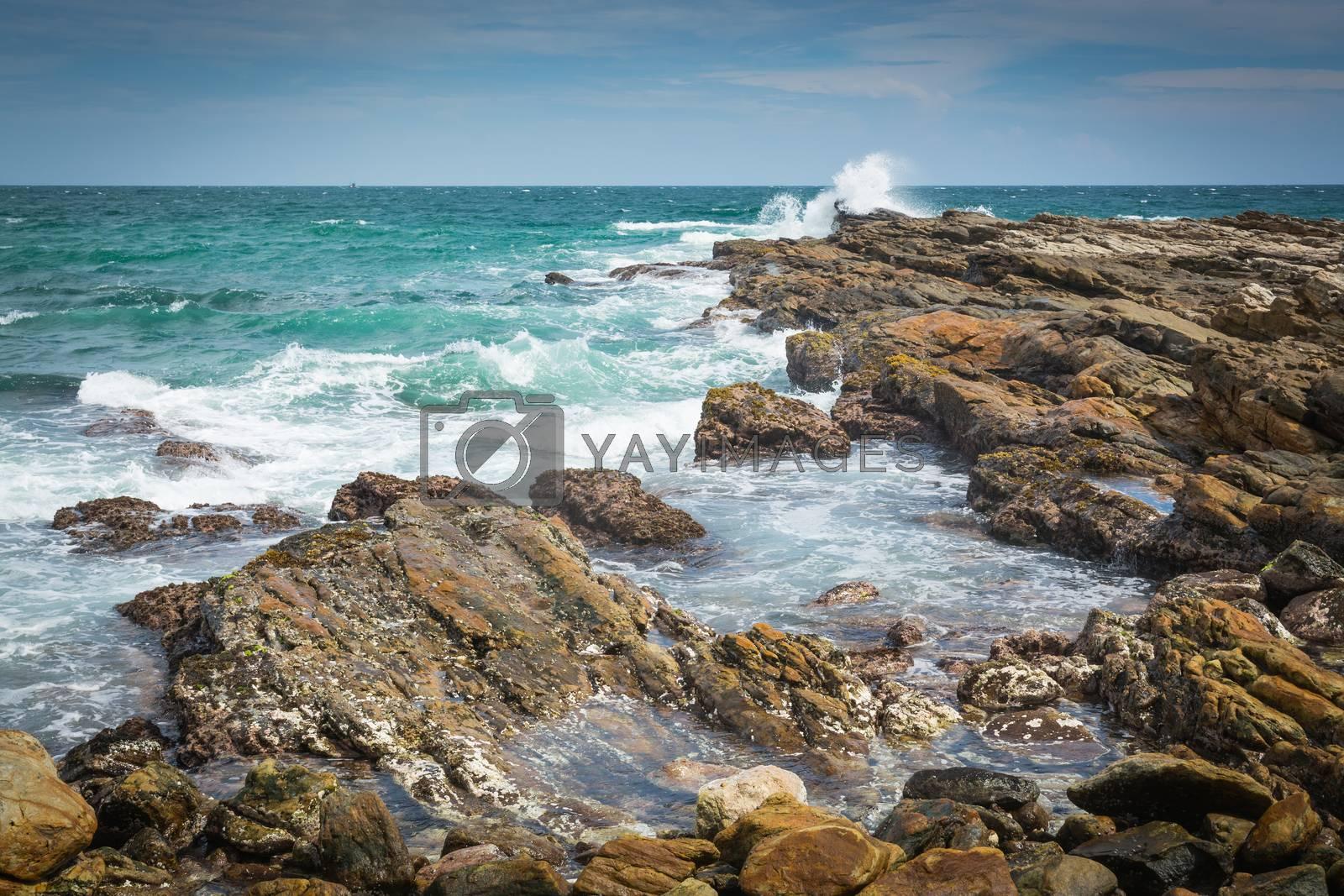 Rocky landscape at Rocky Point, Tangalle, Southern Province, Sri Lanka, Asia.