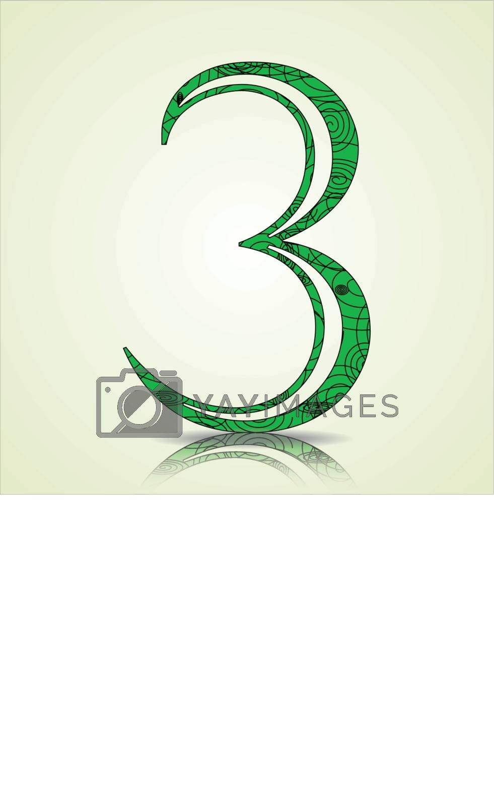 Number of Collection made of swirls - 3 Vector illustration