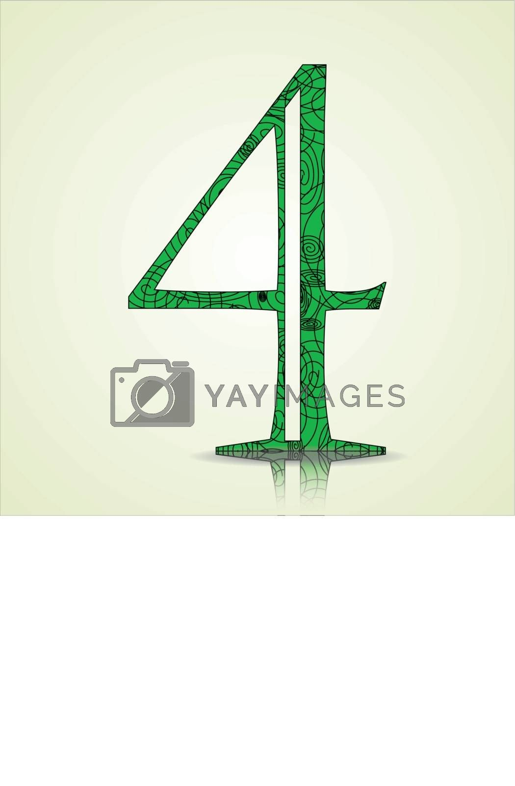 Number of Collection made of swirls - 4 Vector illustration