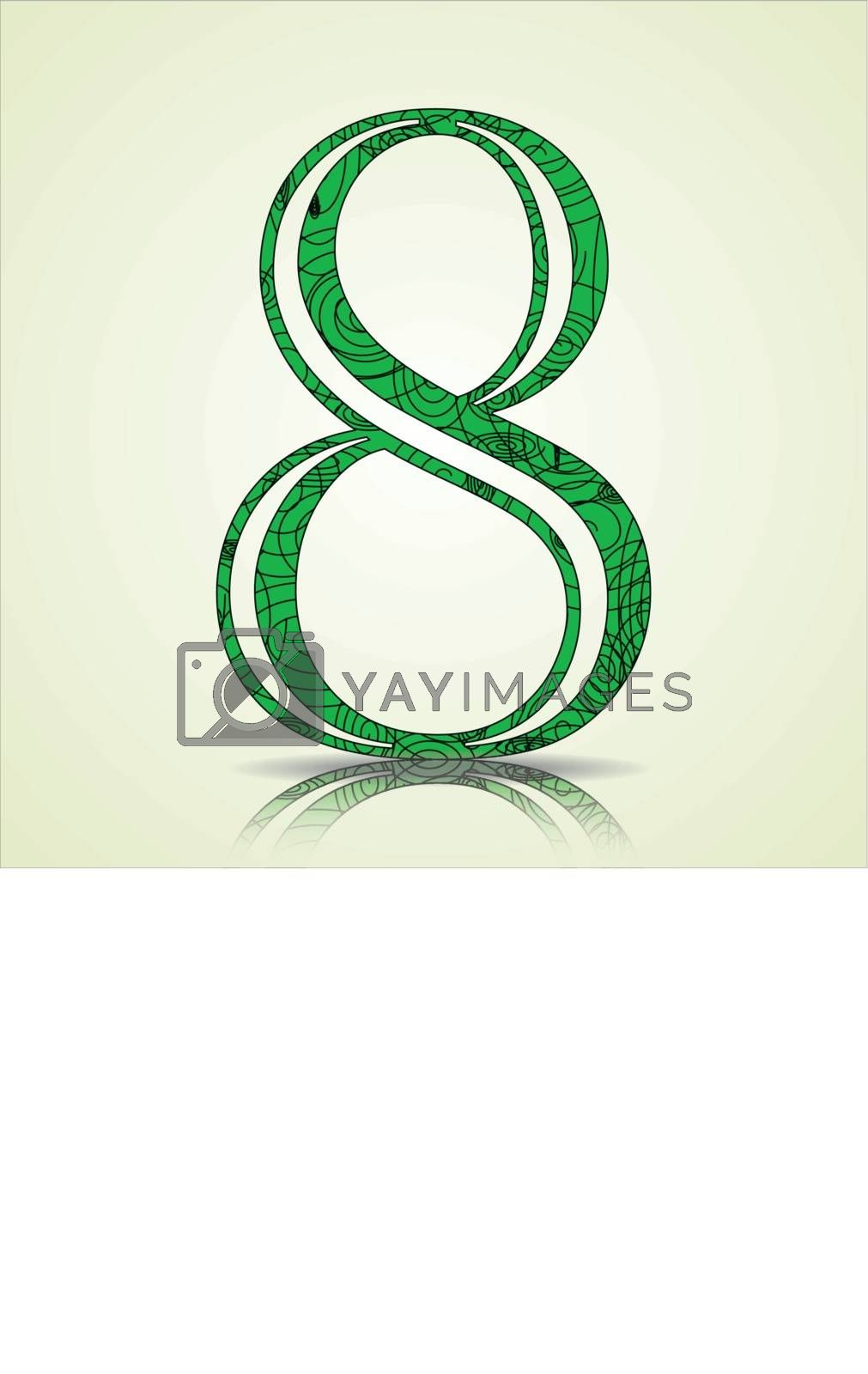 Number of Collection made of swirls - 8 Vector illustration