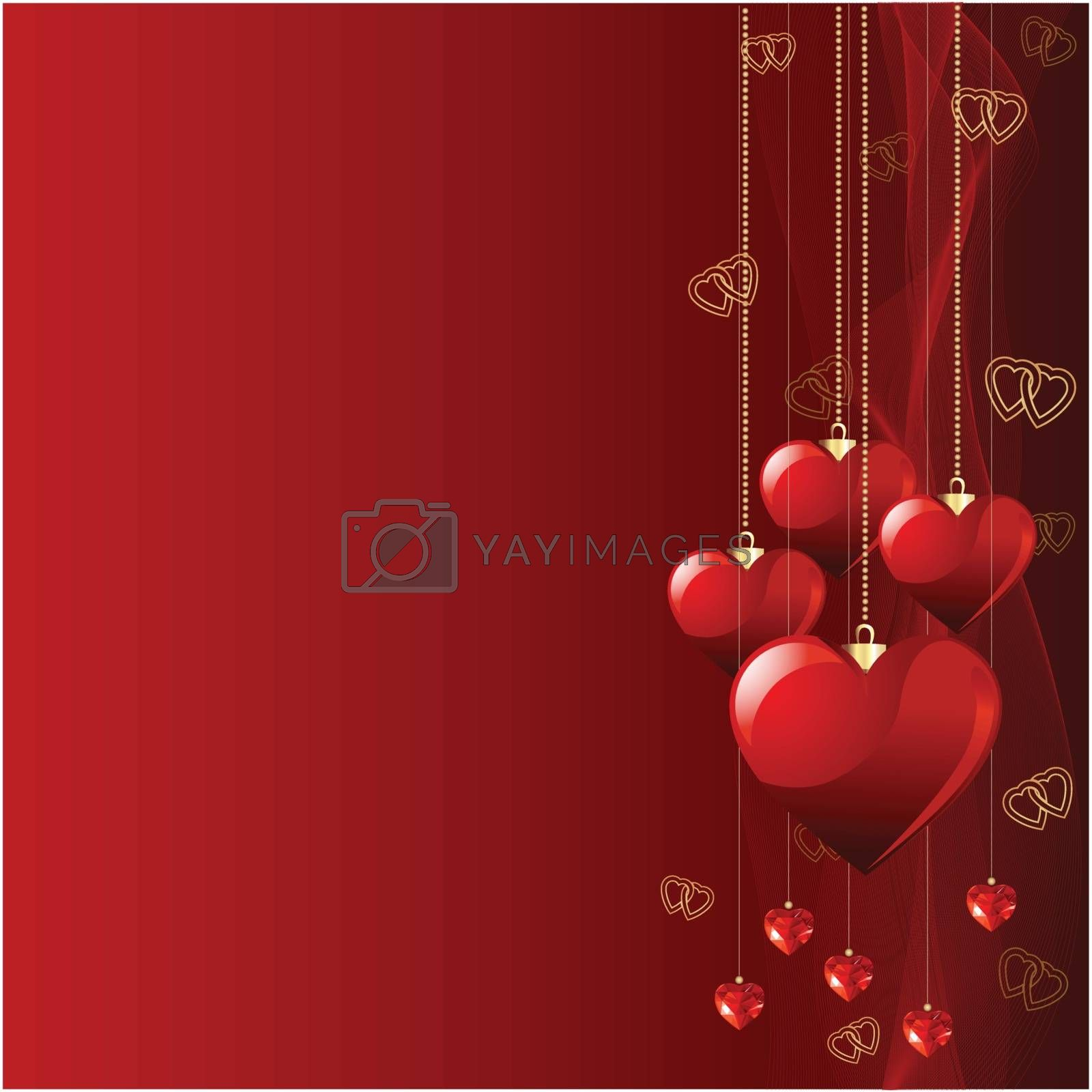 Red beautiful Valentine day background with hearts