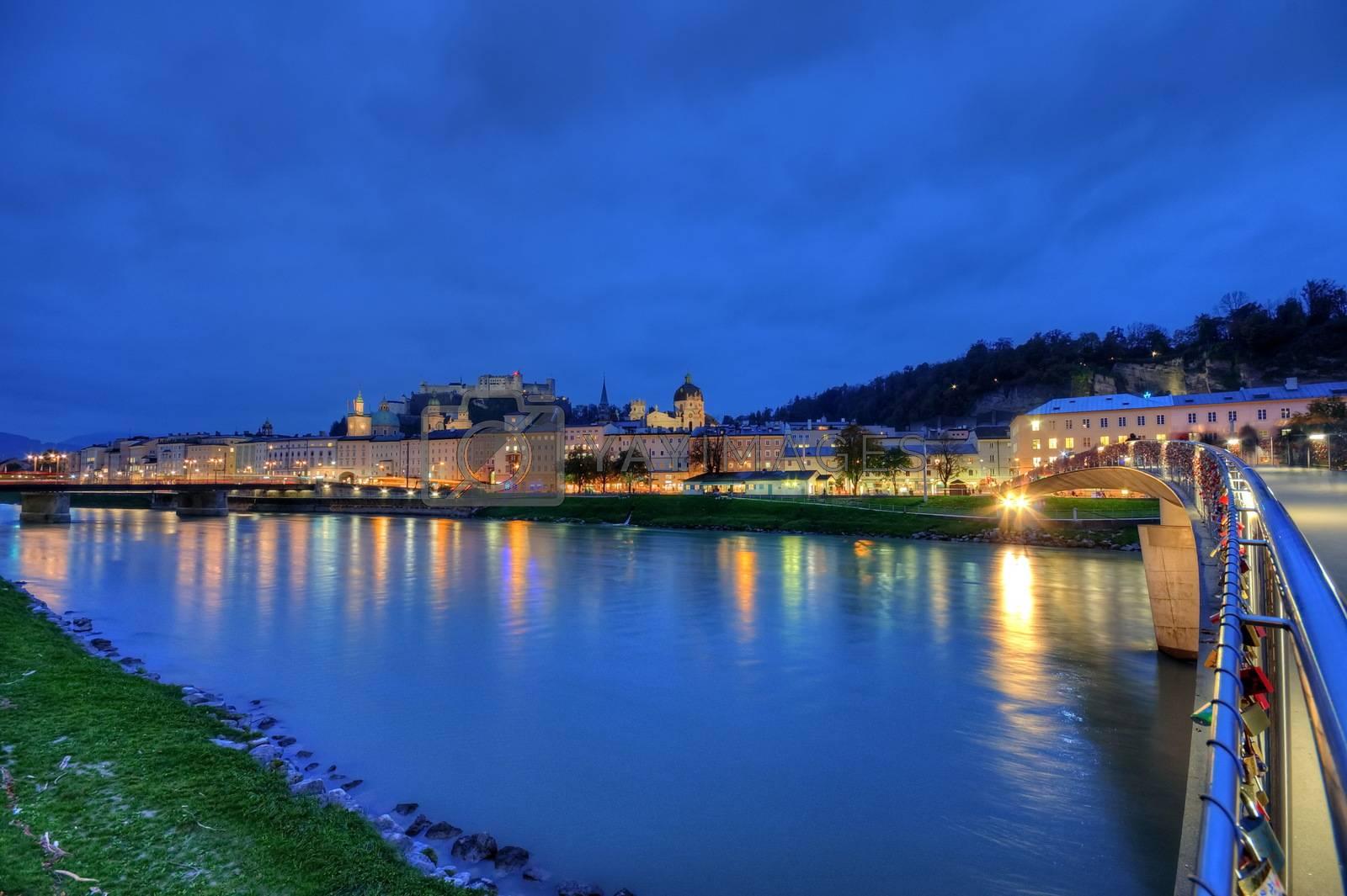 Salzburg at night, Austria