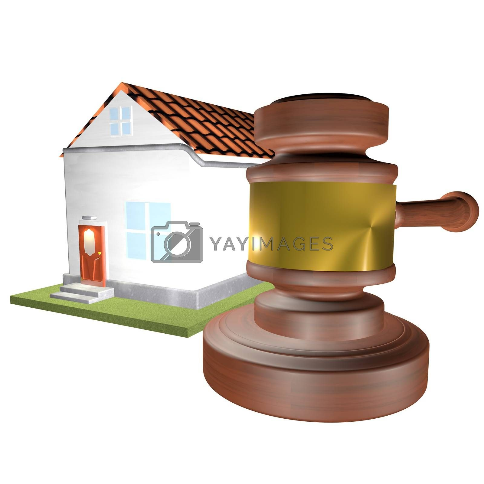 House and auction gavel over white background, 3d render