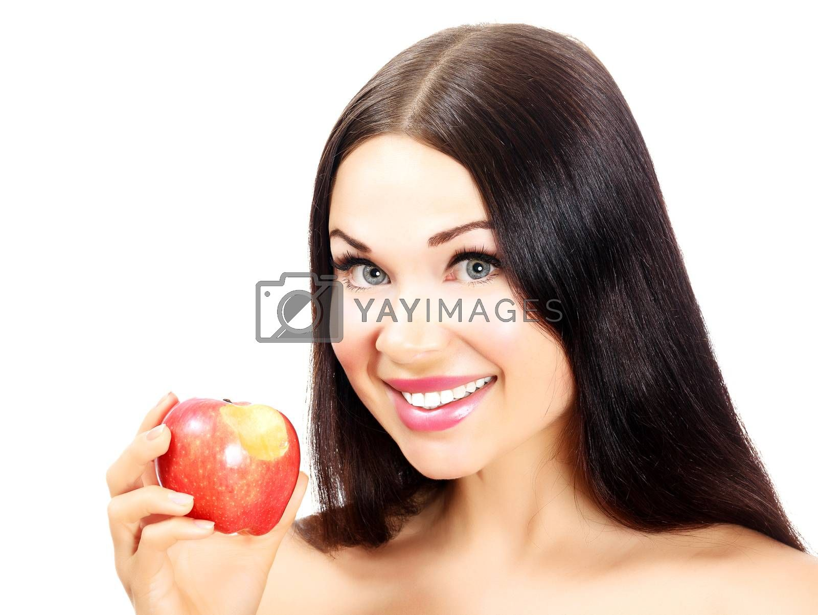Woman with apple, white background, isolated