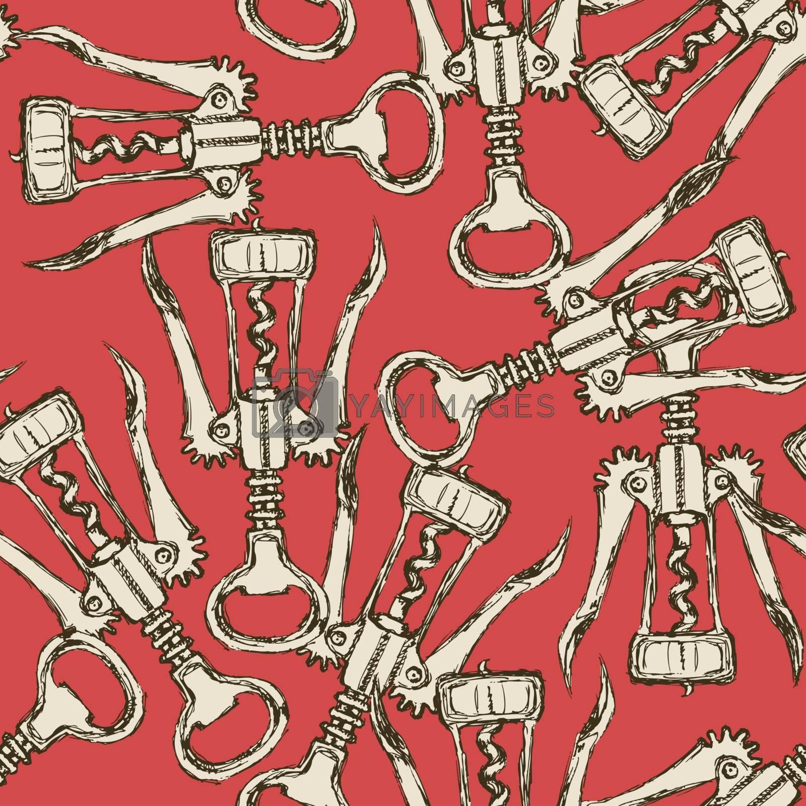 Sketch cute corkscrew in vintage style, vector seamless pattern