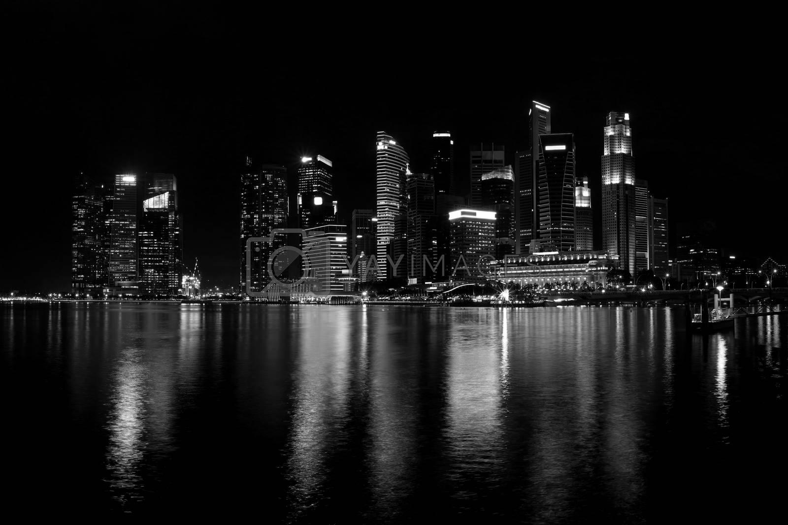 Black and white of Singapore skyline at night