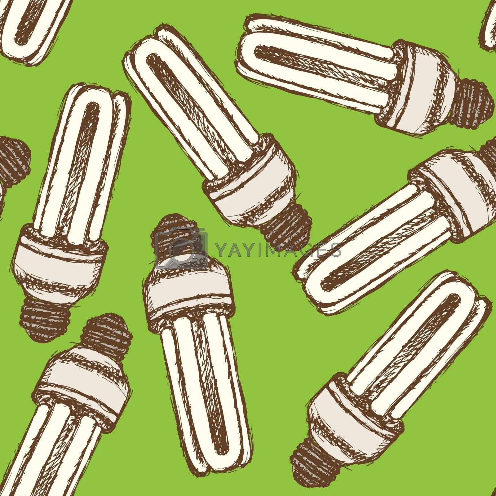 Sketch economic light bulb in vintage style, vector seamless pattern