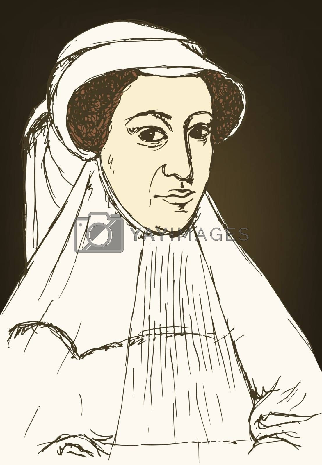 Sketch Mary Stuart portrait in vintage style, vector