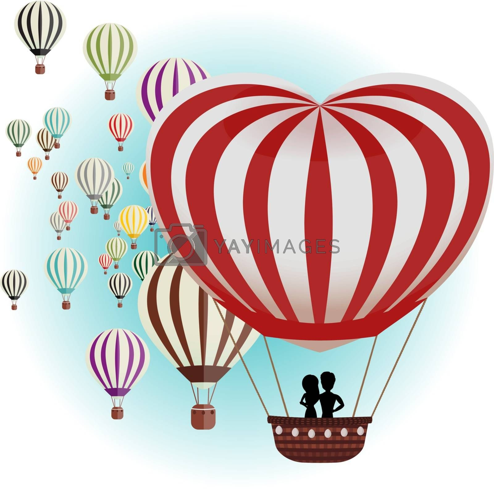 Vector illustration of a set of balloons for Valentine