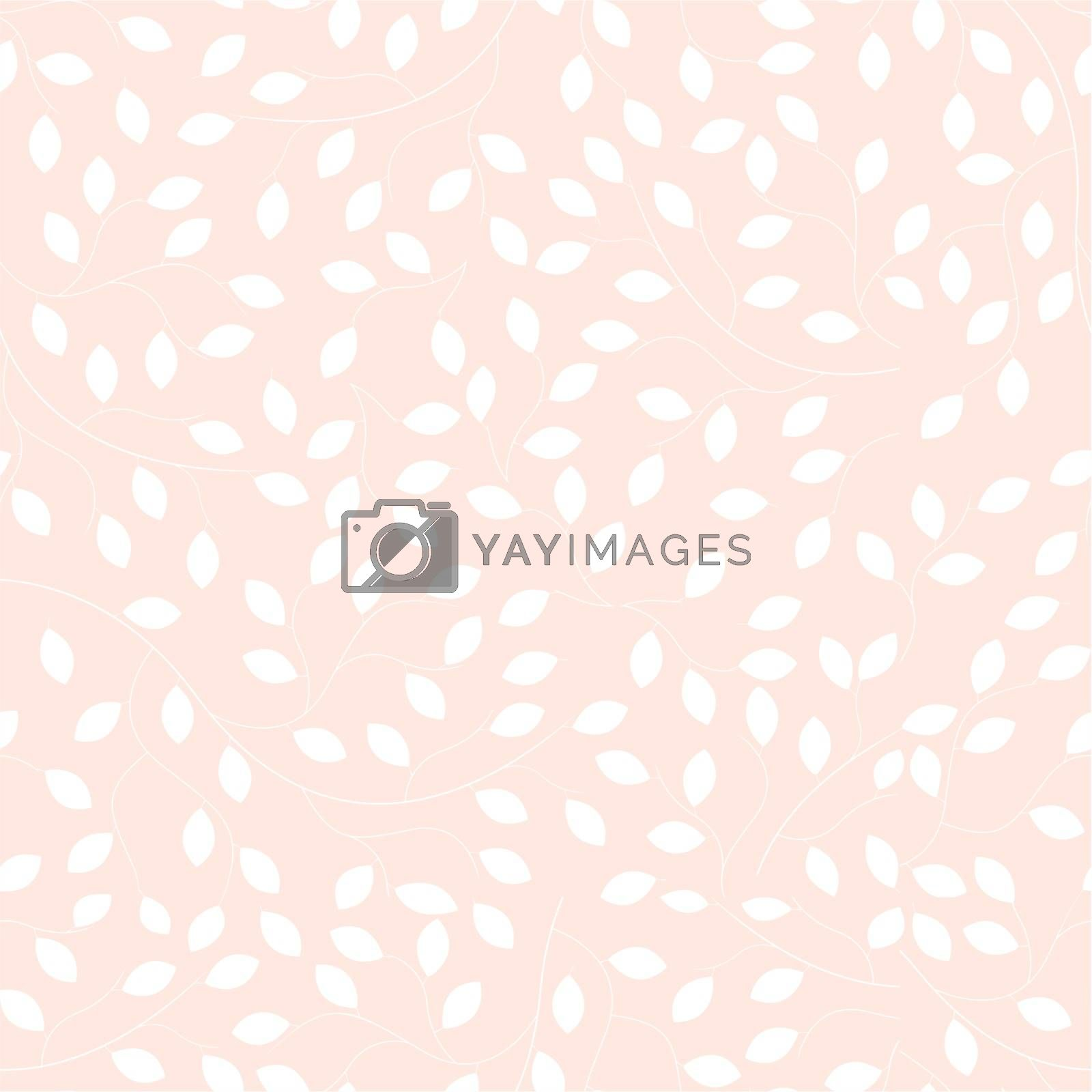 Floral seamless pattern. Abstract branches with leaves. On a beige background.