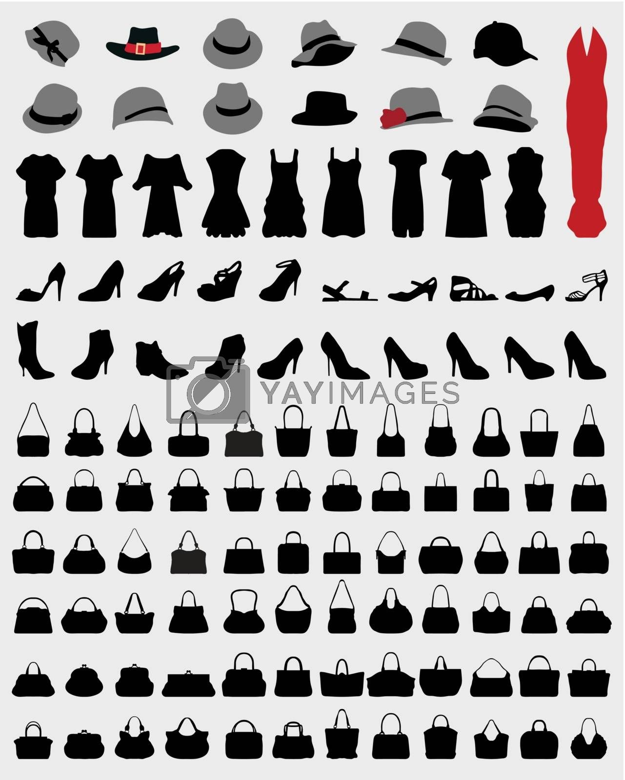 Silhouettes of women's  hats, dress, handbags and shoes