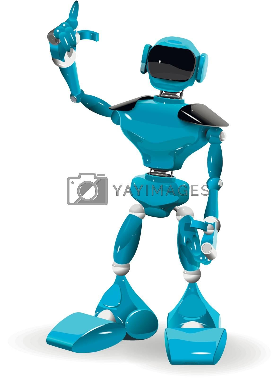 Illustration of a blue robot on white background