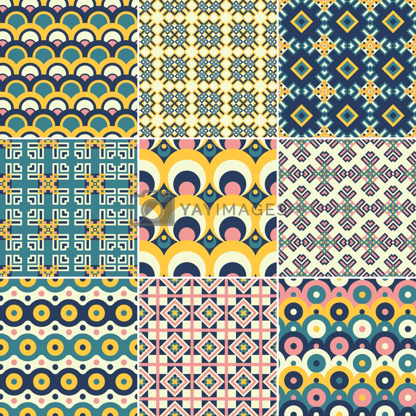 Set of nine vector seamless geometrical patterns. Vintage textures. Decorative background for cards, invitations, web design. Retro digital paper.