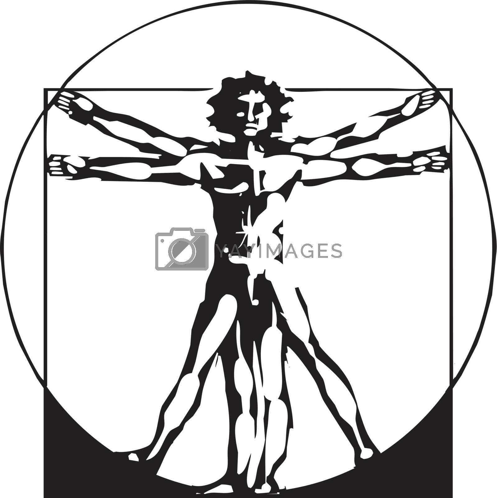 woodcut style depiction based on Leonardo Da Vinci's Proportions of Man