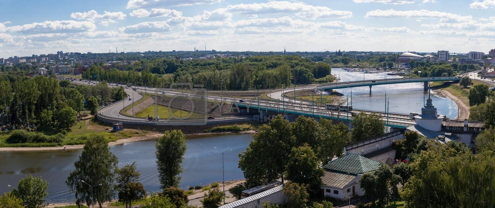 panorama of the city  Yaroslavl , Russia, in a sunny day