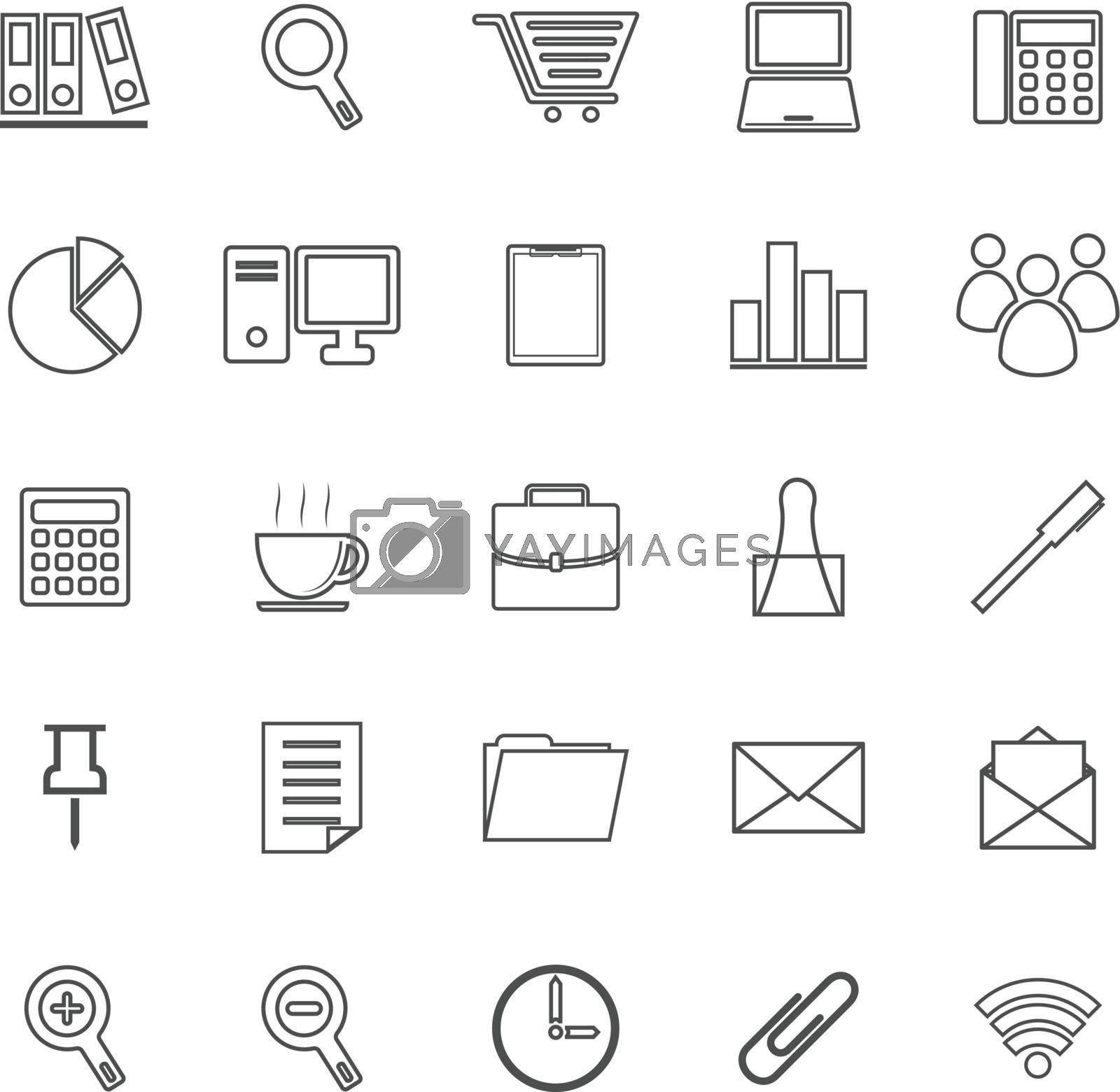 Office line icon on white background, stock vetor