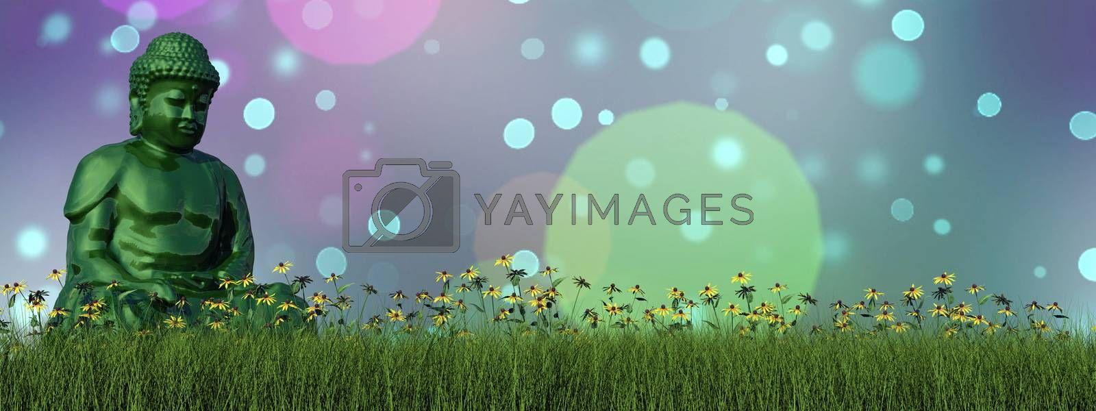 One green buddha sitting on the grass with flower into bokeh background - 3D render